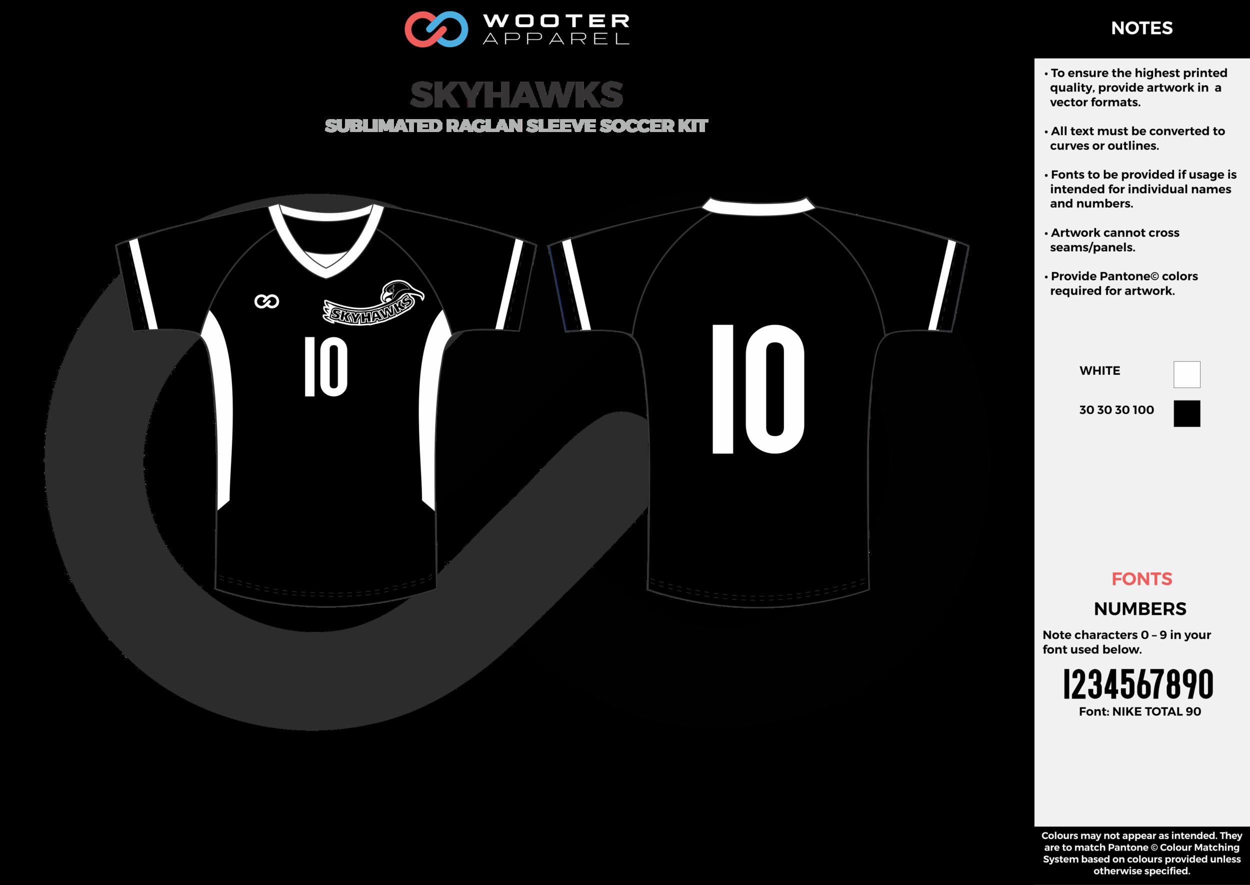 SKYHAWKS black white custom sublimated soccer uniform jersey shirt