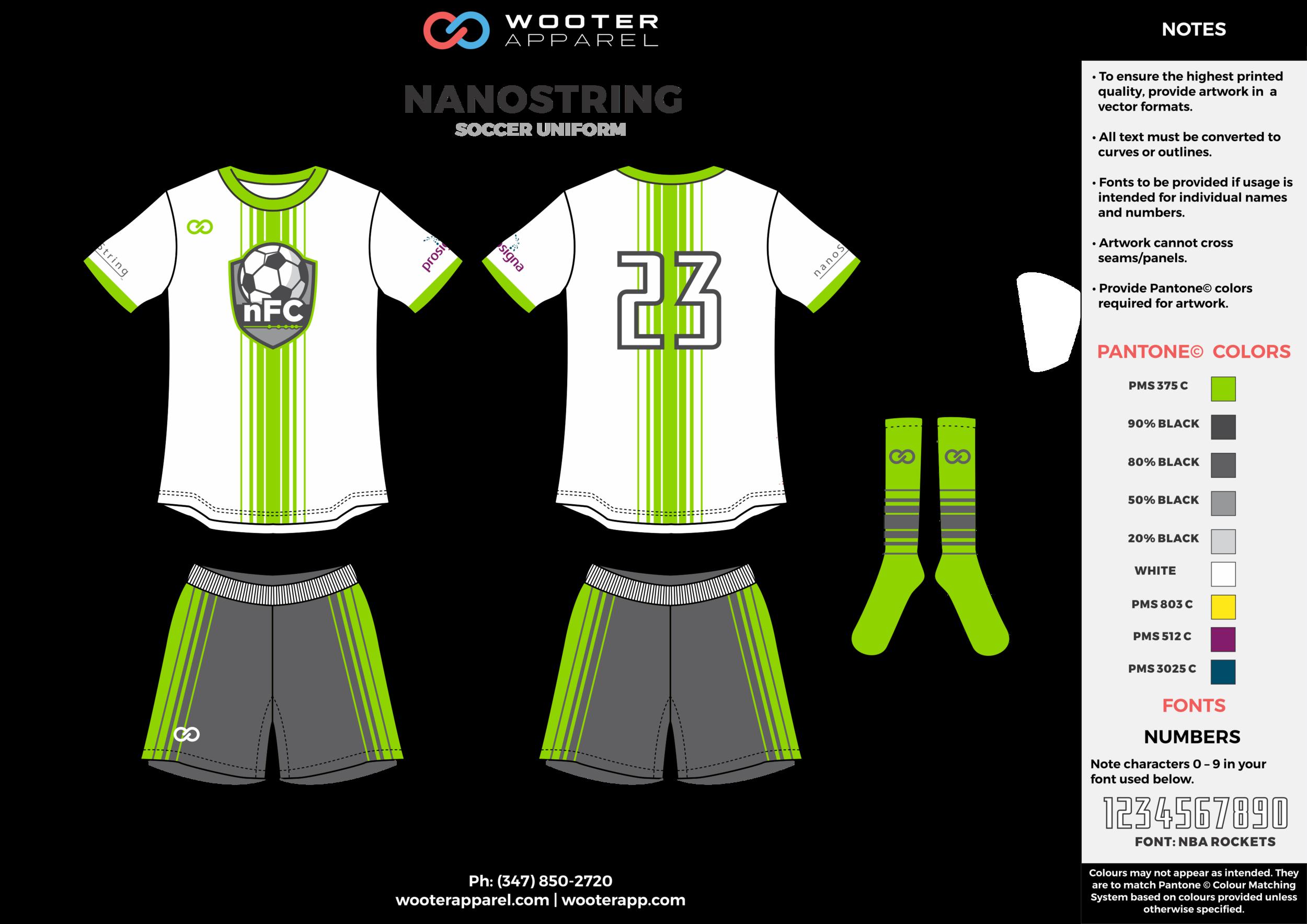 NANOSTRING green white gray custom sublimated soccer uniform jersey shirt shorts socks