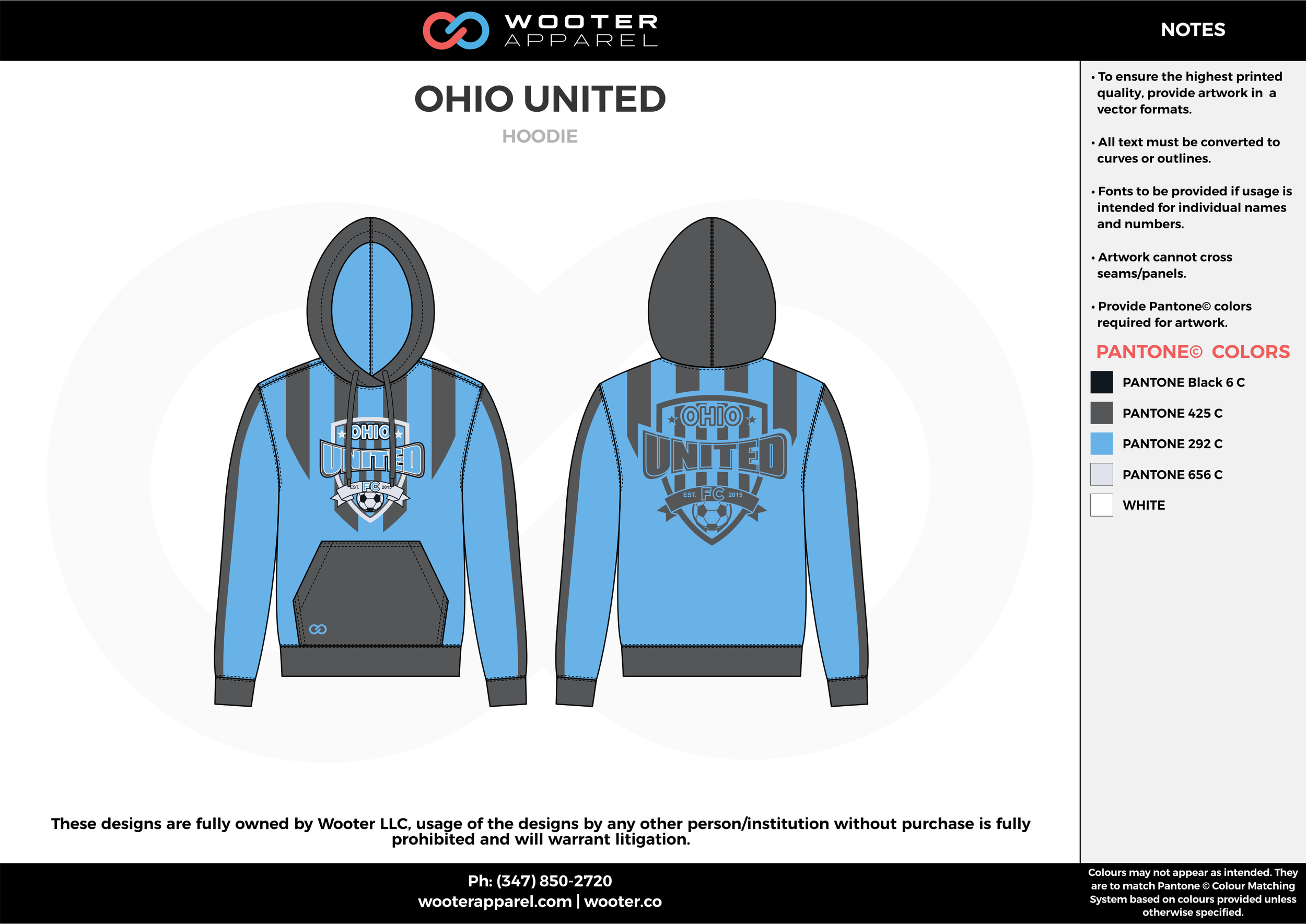 OHIO UNITED blue gray custom sublimated soccer uniform jersey hoodie