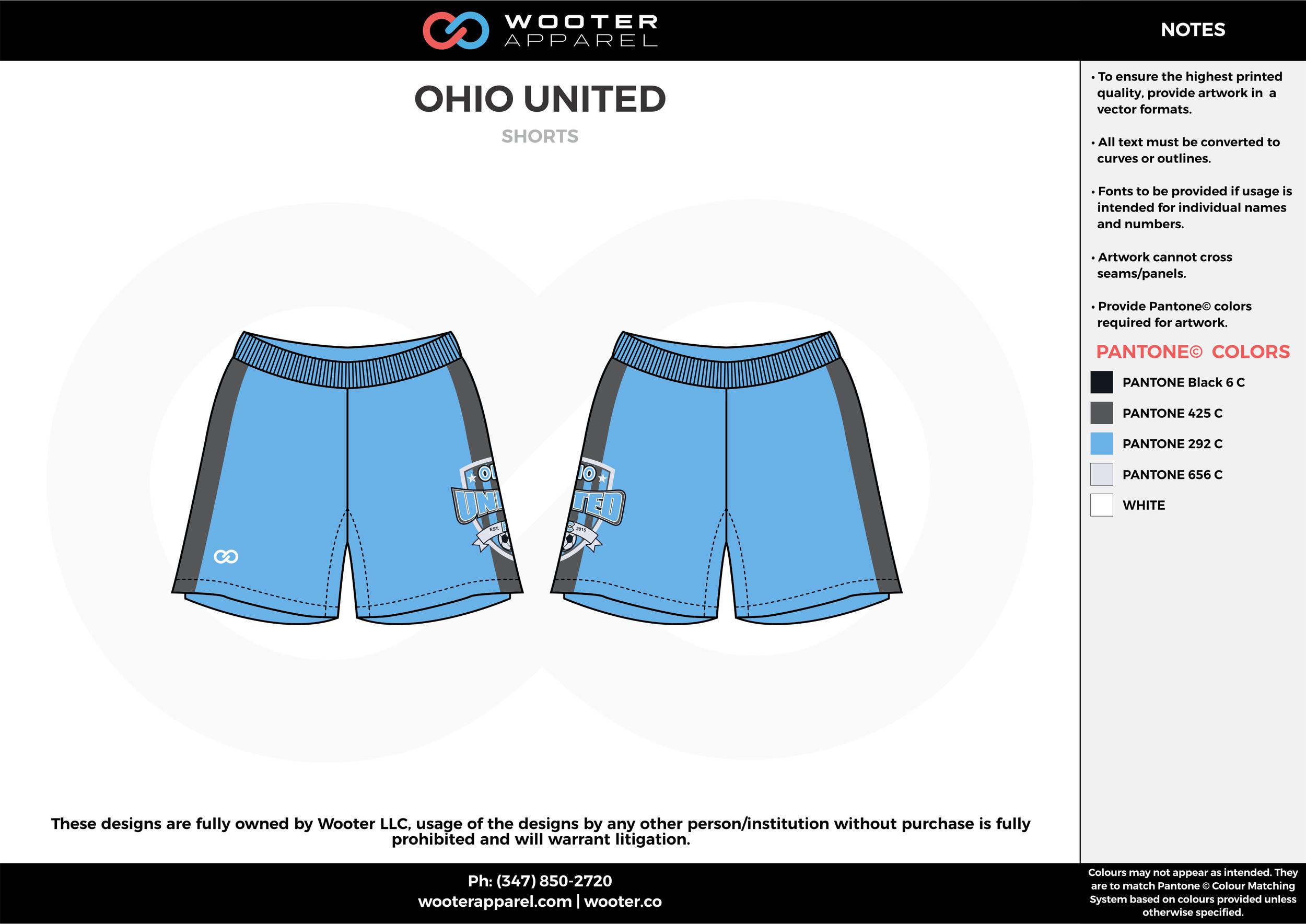 OHIO UNITED blue gray white custom sublimated soccer uniform jersey shorts
