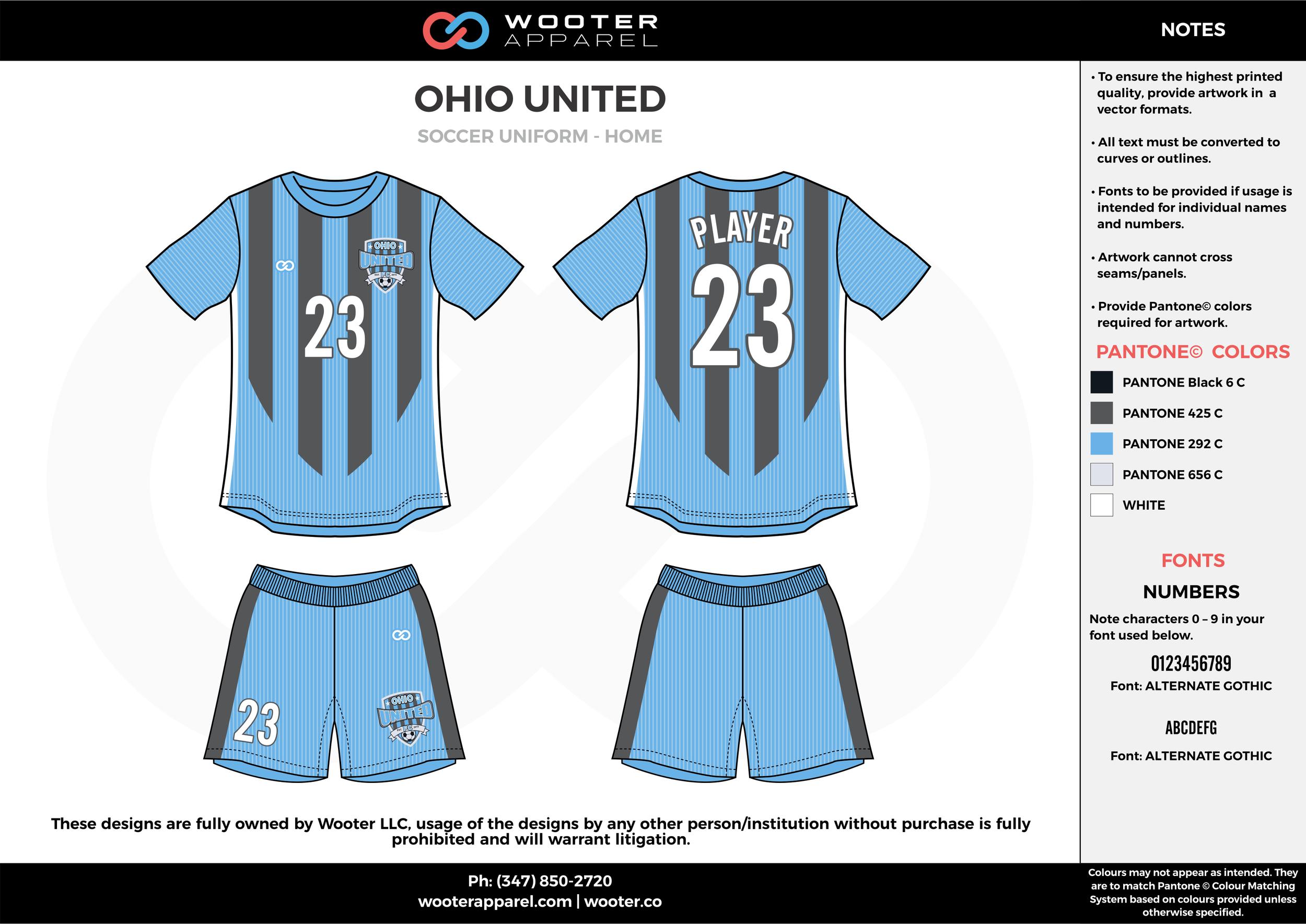 OHIO UNITED blue gray white custom sublimated soccer uniform jersey shirt shorts