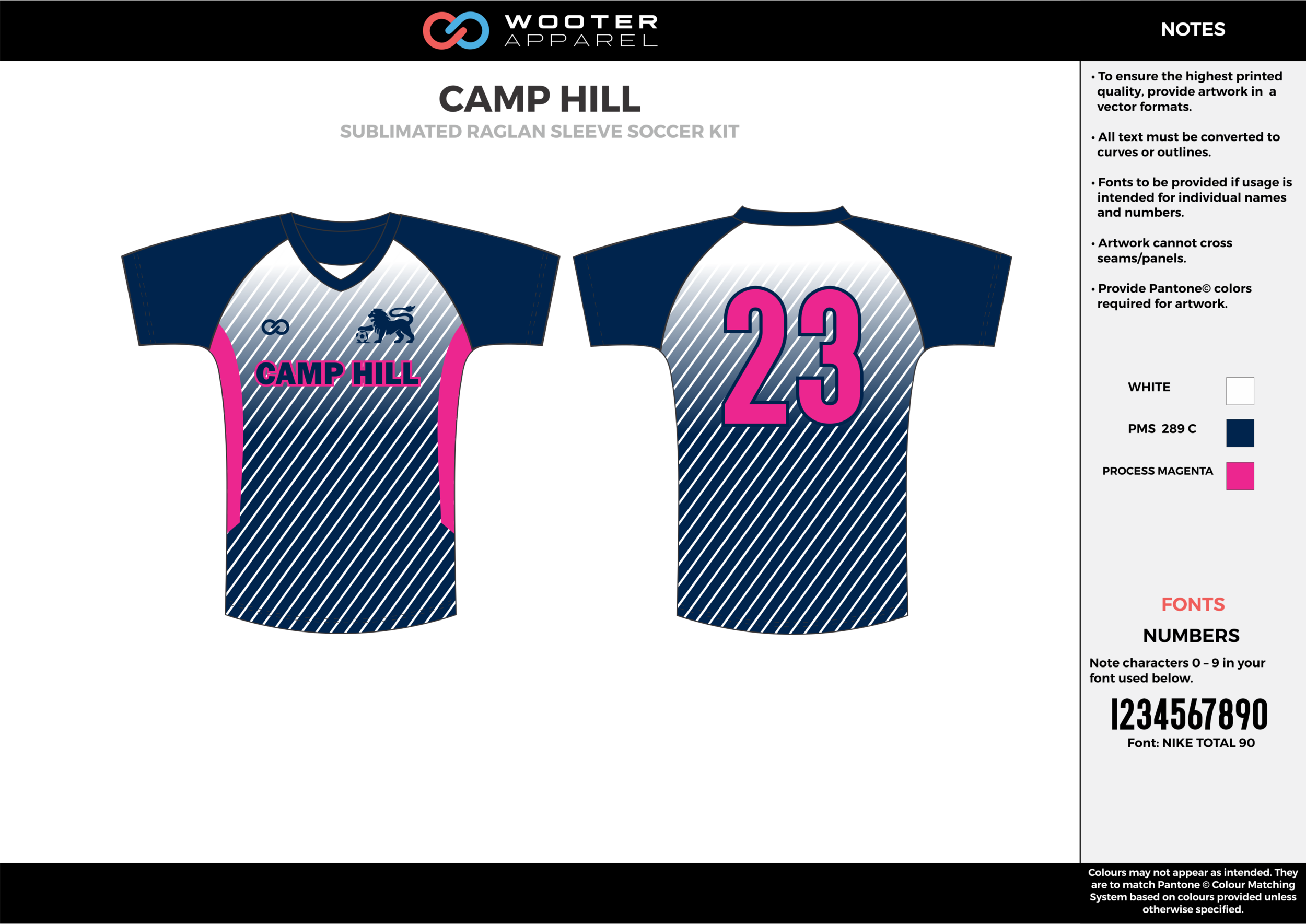 CAMP HILL blue pink white custom sublimated soccer uniform jersey shirt