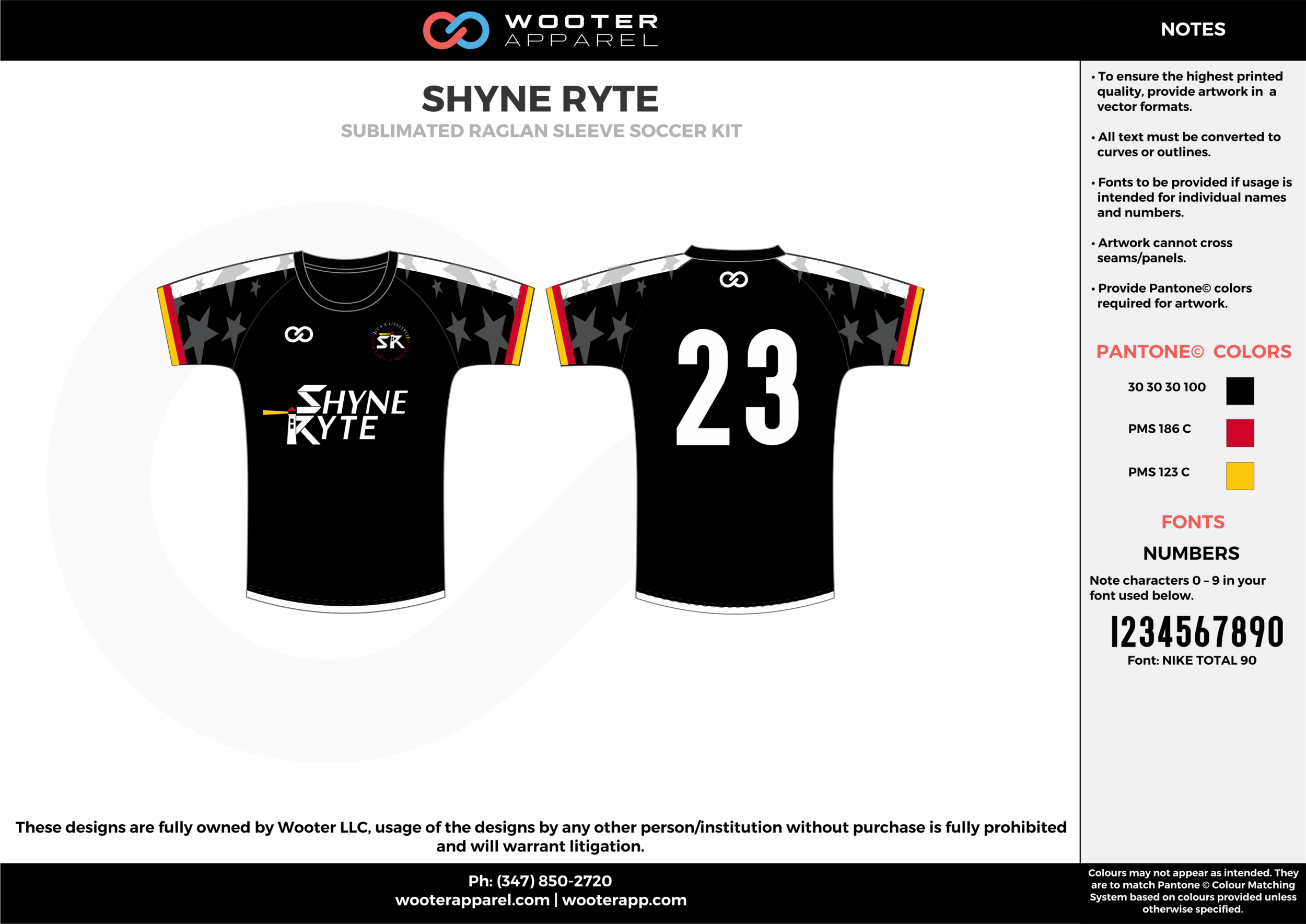 SHYNE RYTE black red yellow custom sublimated soccer uniform jersey shirt