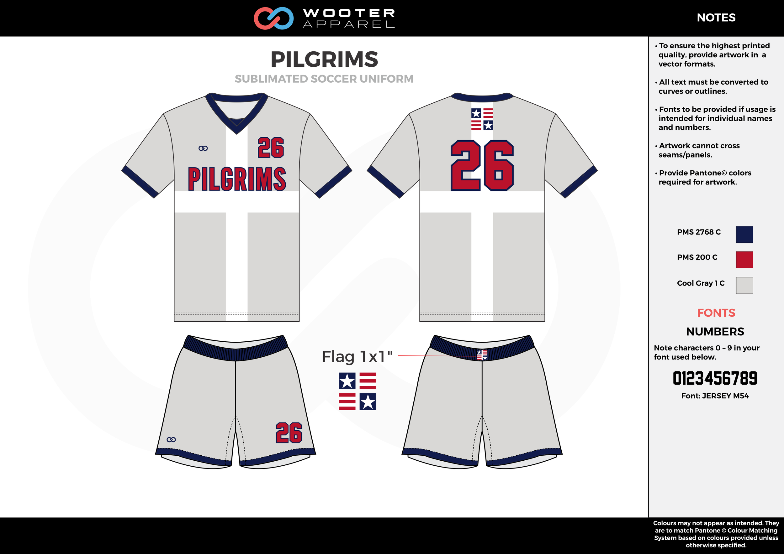 PILGRIMS cool gray red blue custom sublimated soccer uniform jersey shirt shorts