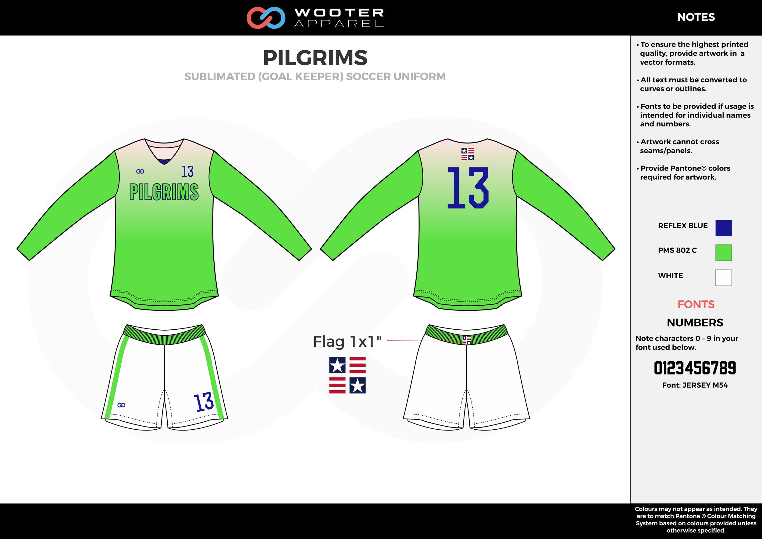 PILGRIMS green white blue custom sublimated soccer uniform jersey shirt shorts