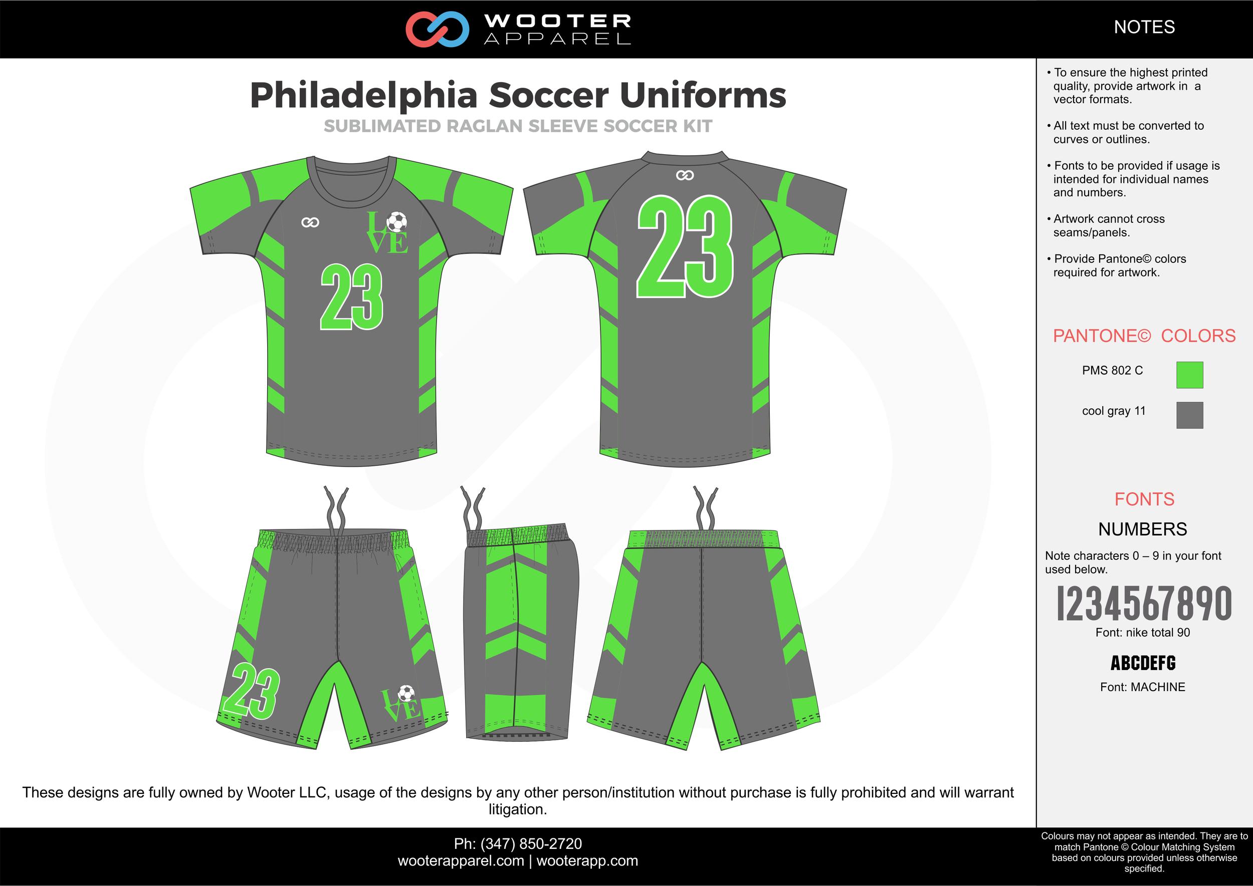 Philadelphia green cool gray custom sublimated soccer uniform jersey shirt shorts