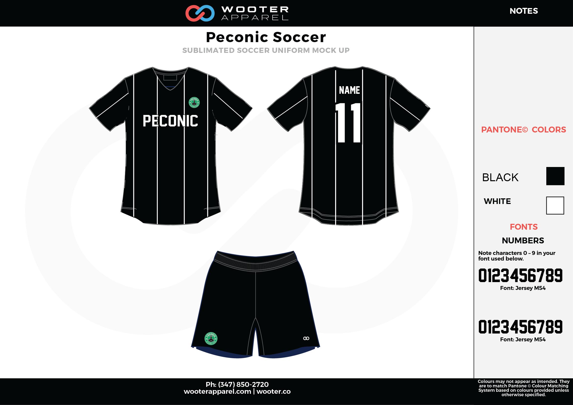 Peconic black white custom sublimated soccer uniform jersey shirt shorts