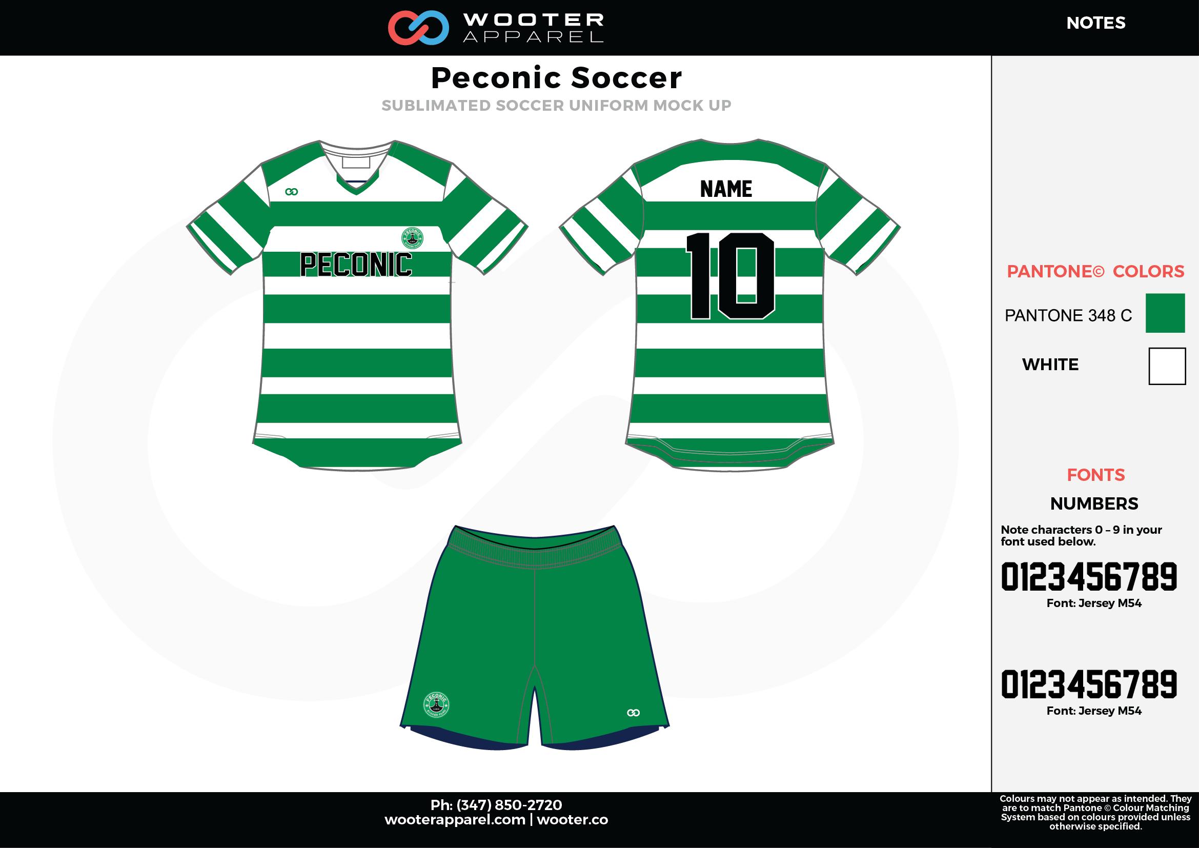 Peconic green white custom sublimated soccer uniform jersey shirt shorts