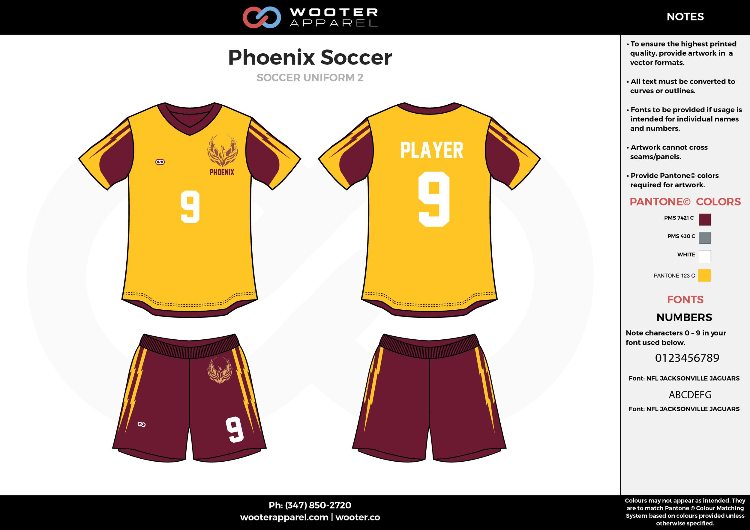 Phoenix yellow maroon custom sublimated soccer uniform jersey shirt shorts