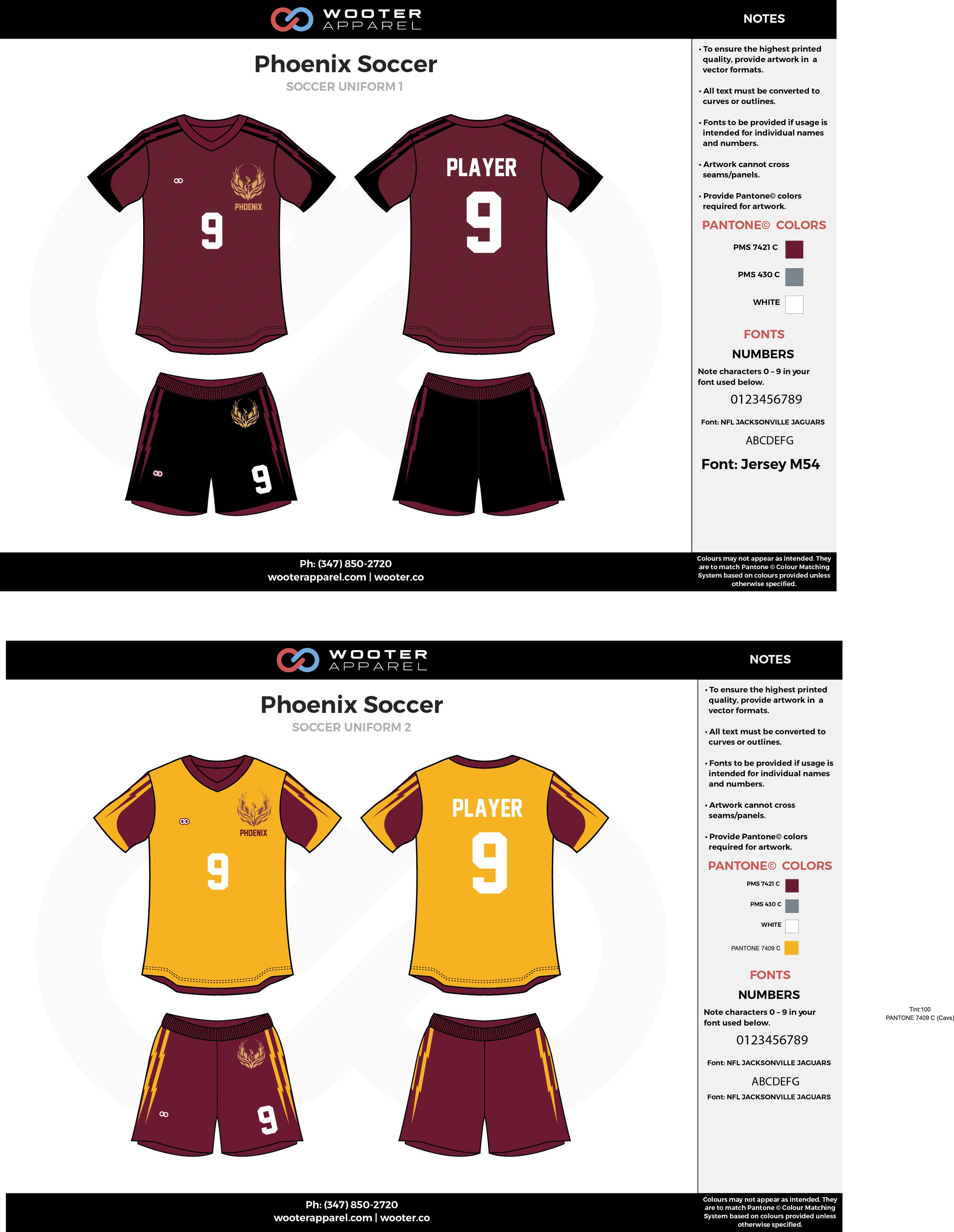 Phoenix maroon black white yellow custom sublimated soccer uniform jersey shirt shorts