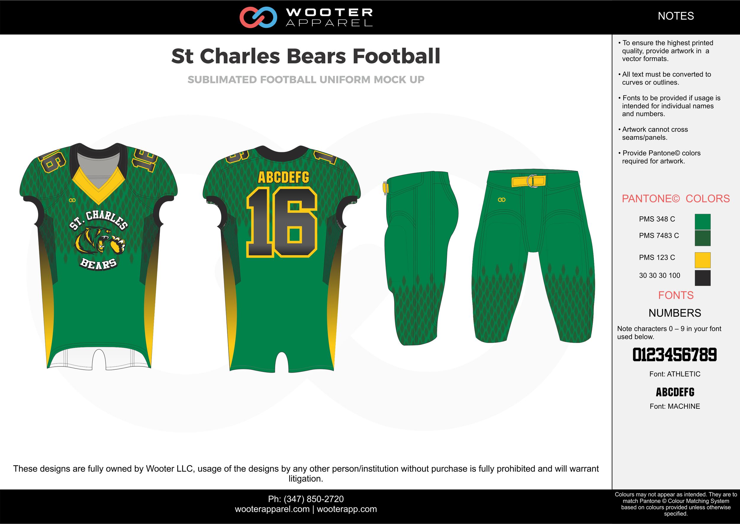 St Charles Bears green yellow black grey football uniforms jerseys pants