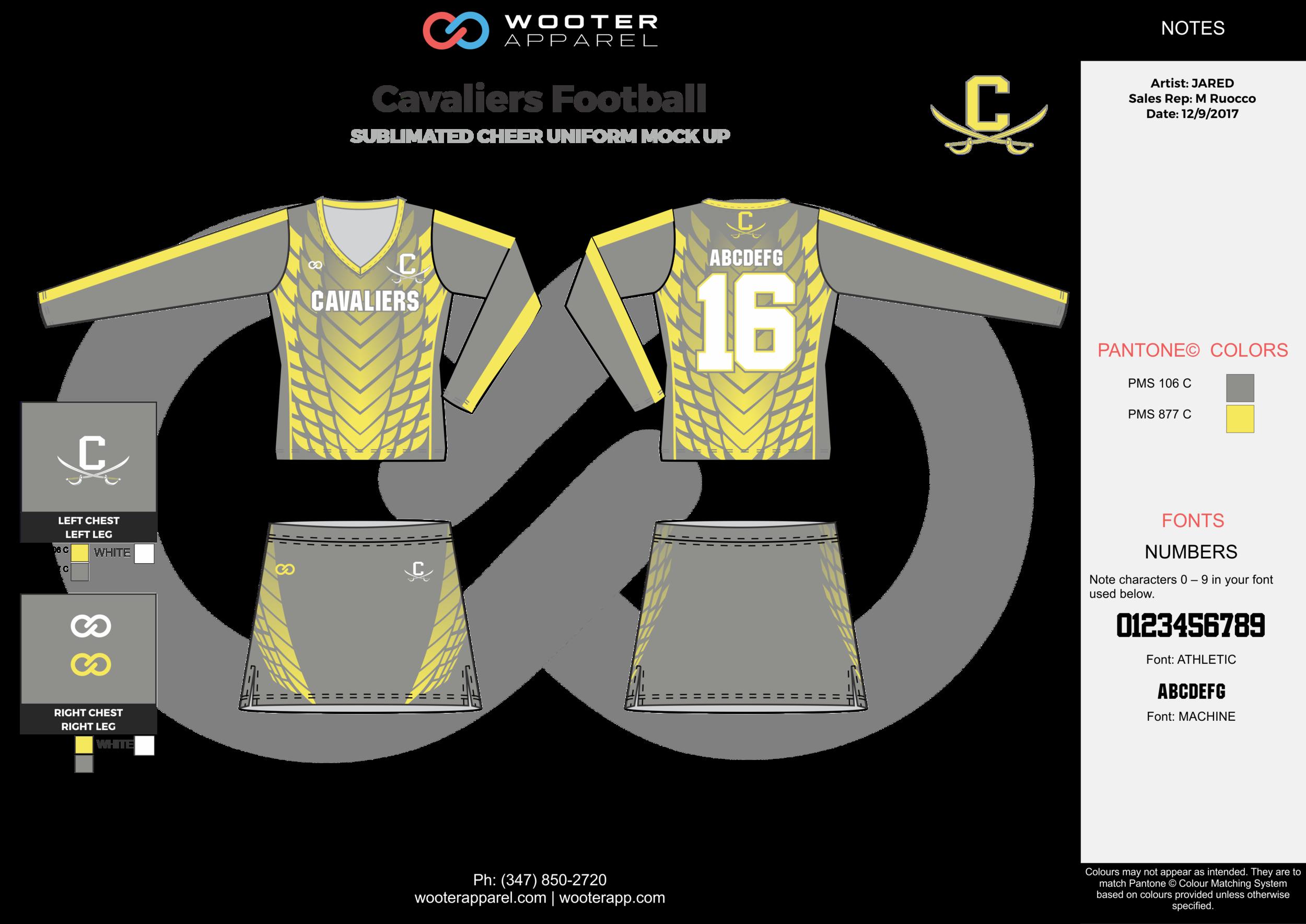Cavallers Football yellow gray white football uniforms jerseys skirts