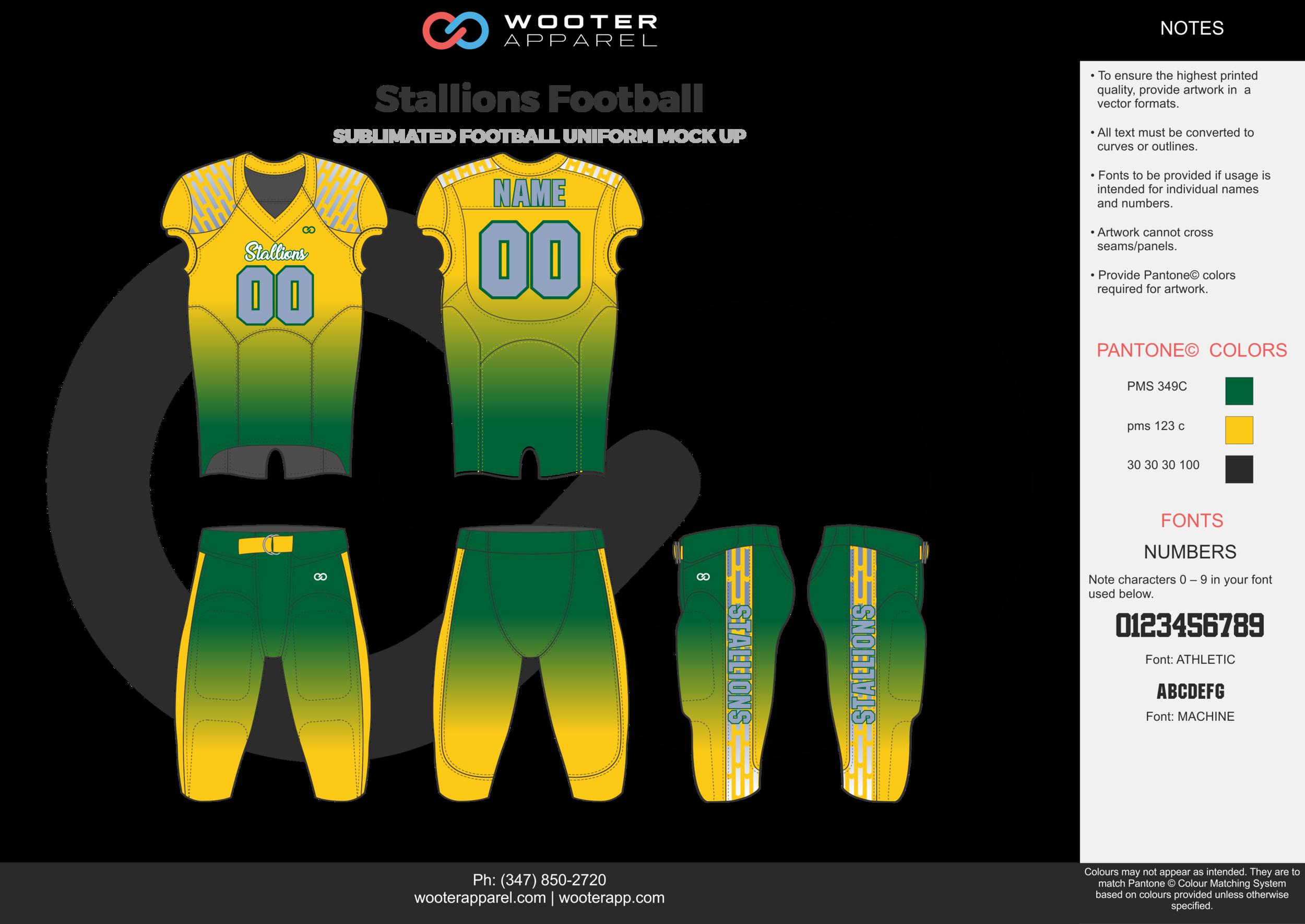 Stallions Football green yellow gray football uniforms jerseys pants