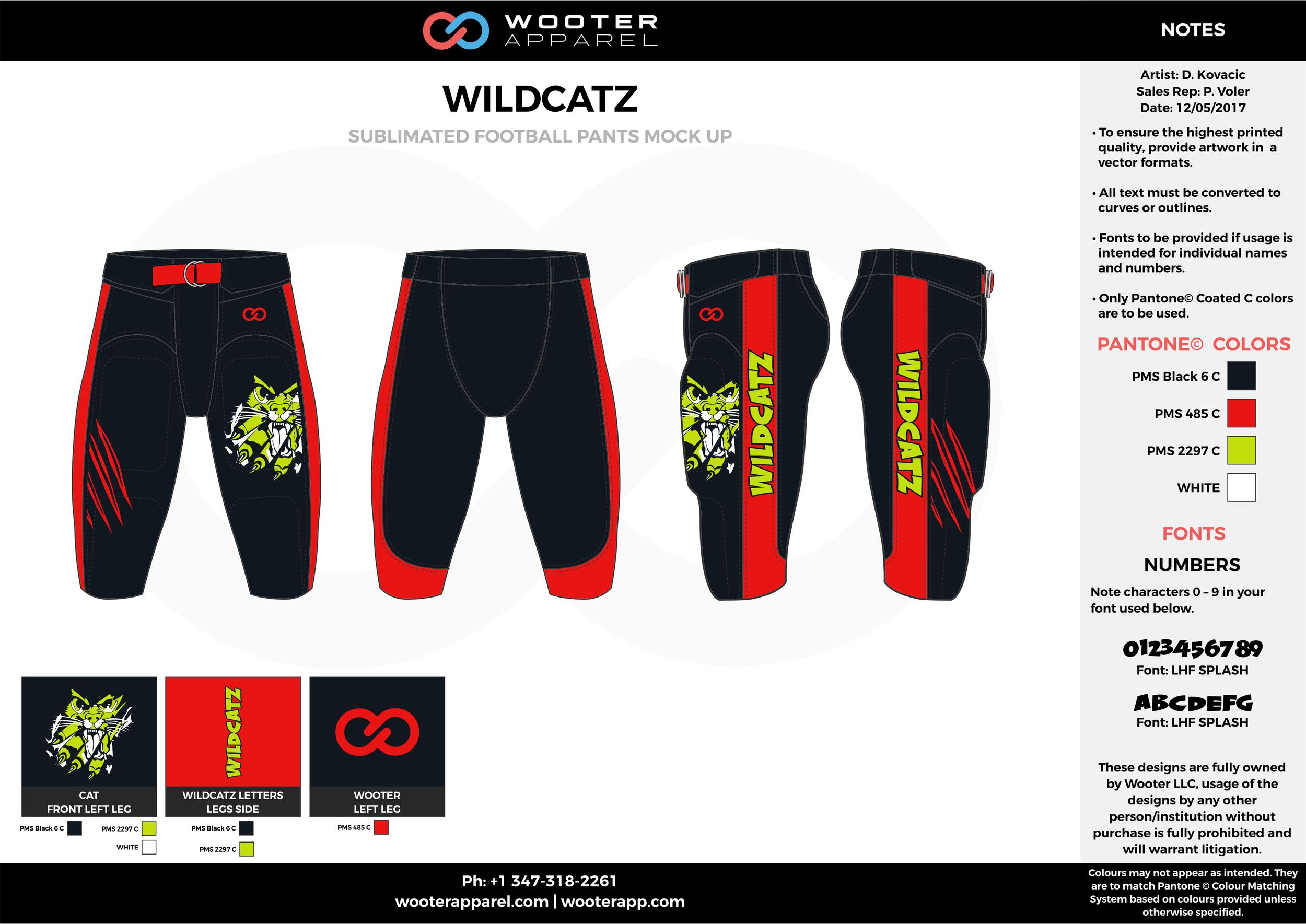 WILDCATZ red black yellow football uniforms jerseys pants