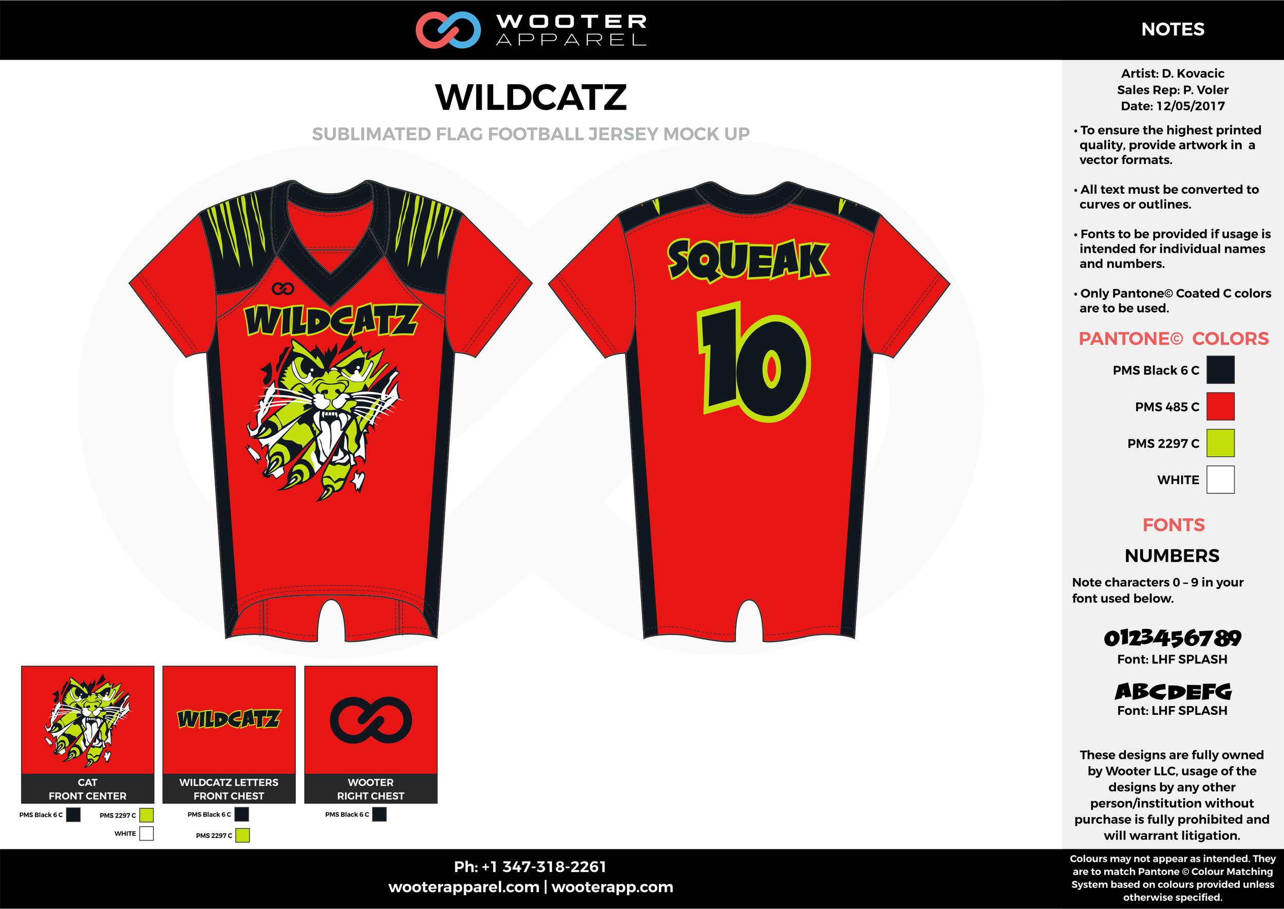 WILDCATZ red black yellow white football uniforms jerseys top