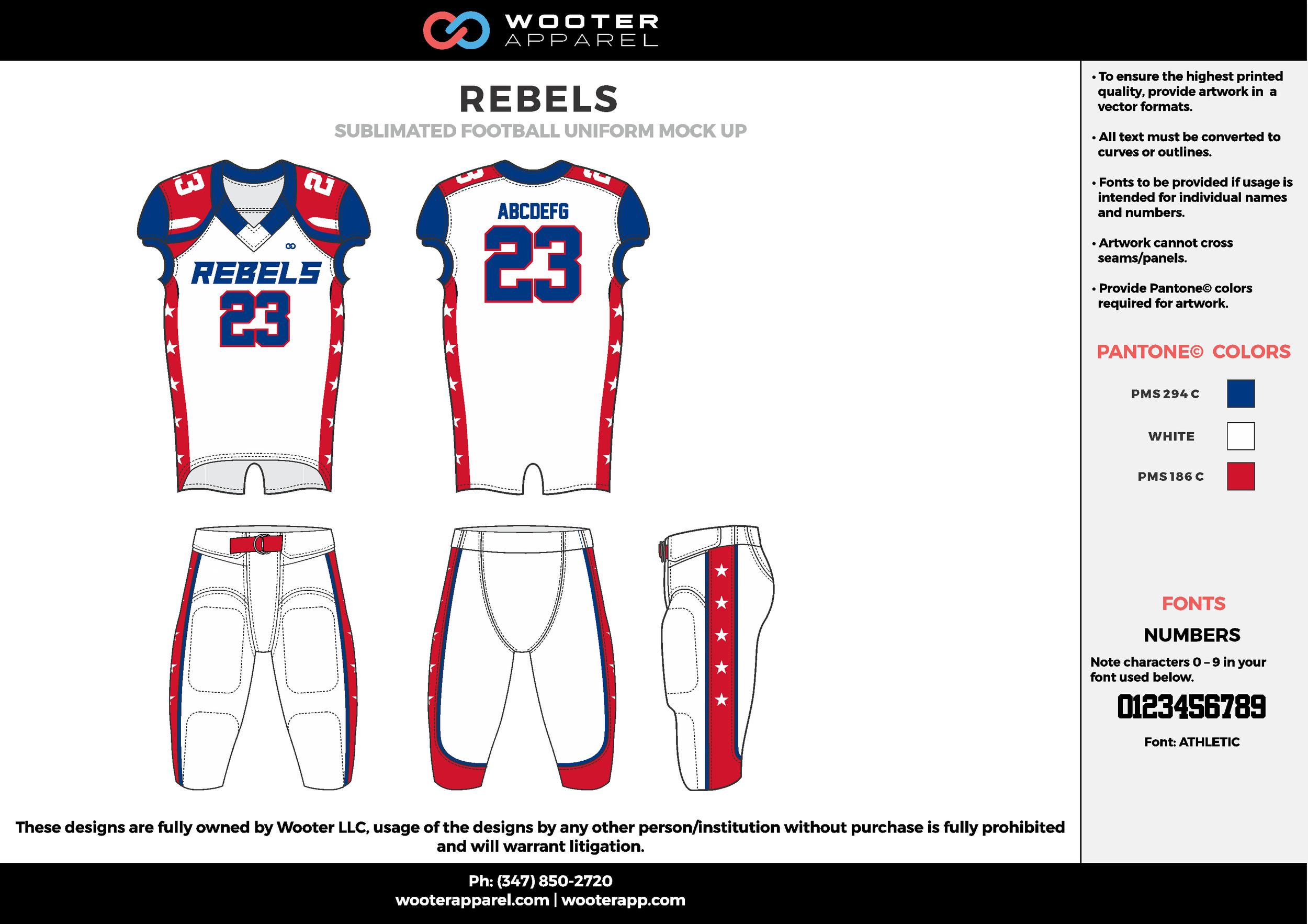 REBELS white blue red football uniforms jerseys pants