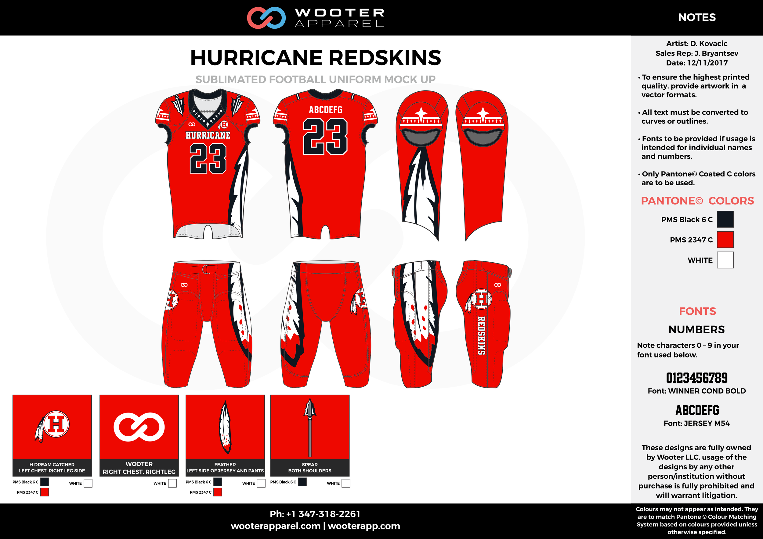 HURRICANE REDSKINS red black white football uniforms jerseys pants
