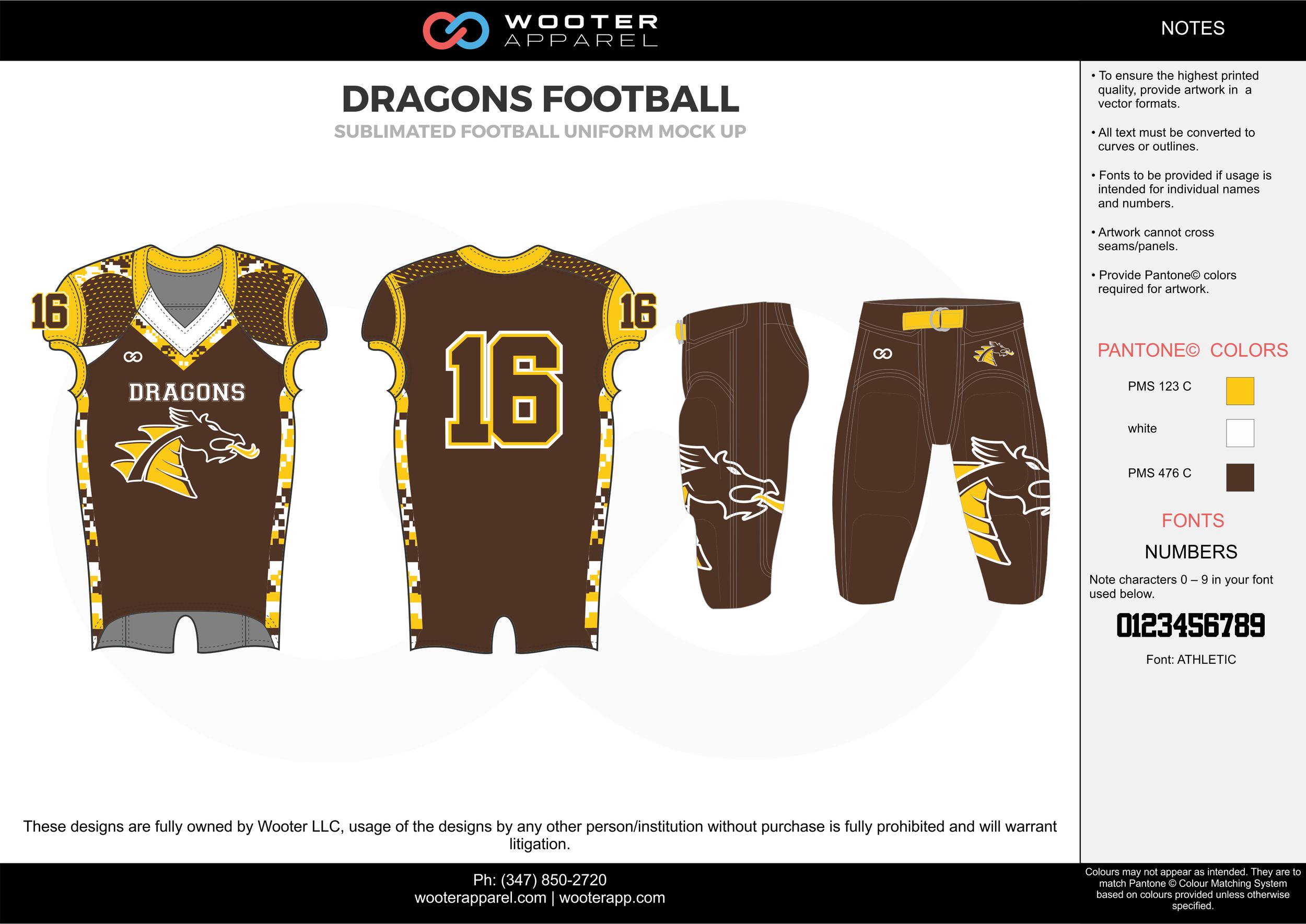 DRAGONS FOOTBALL yellow brown white football uniforms jerseys pants