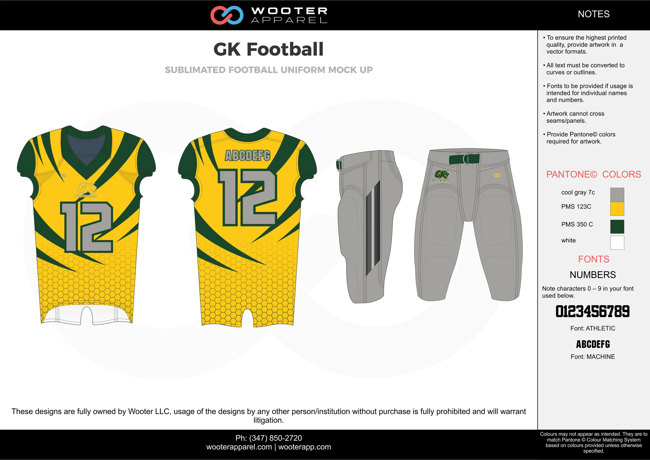 GK Football gray yellow black white football uniforms jerseys pants