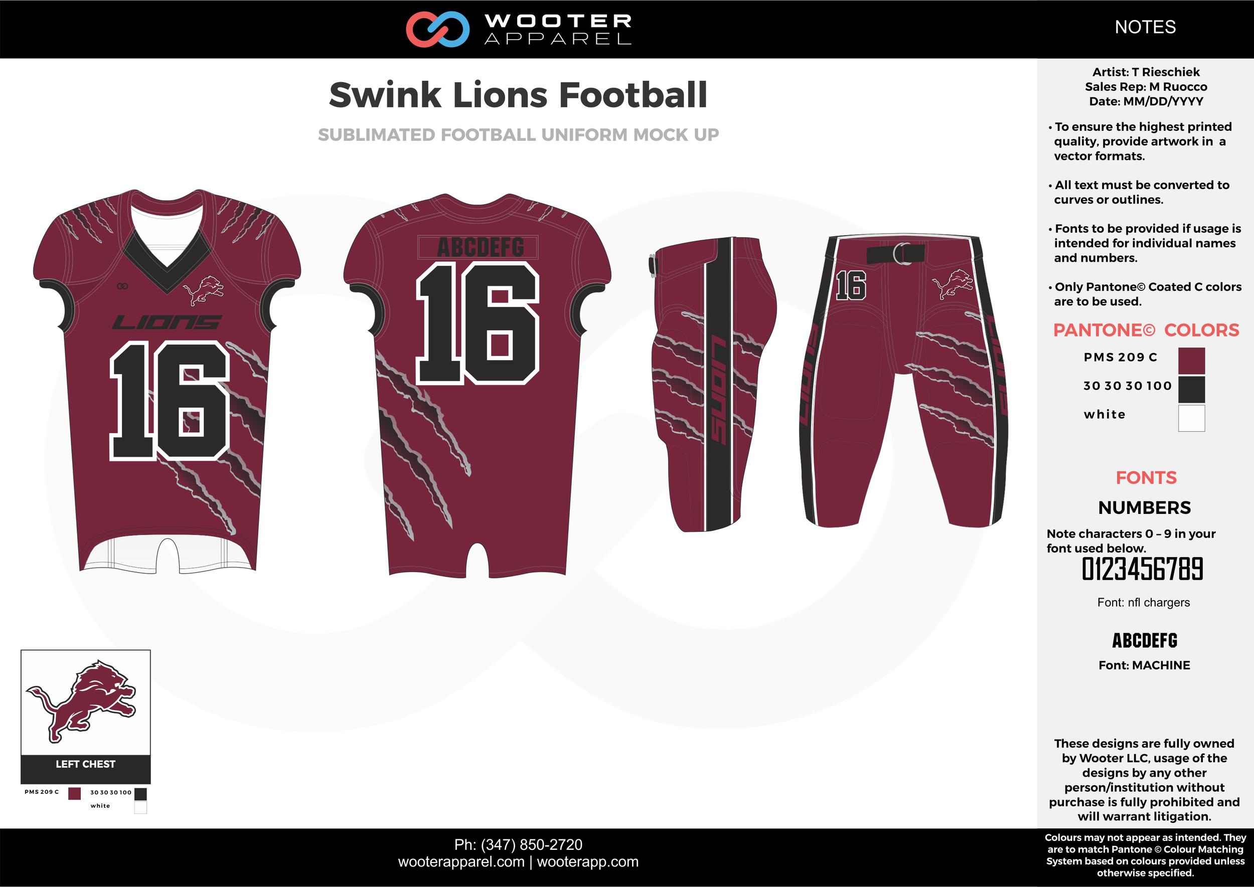 Swink Lions Football maroon black white football uniforms jerseys pants