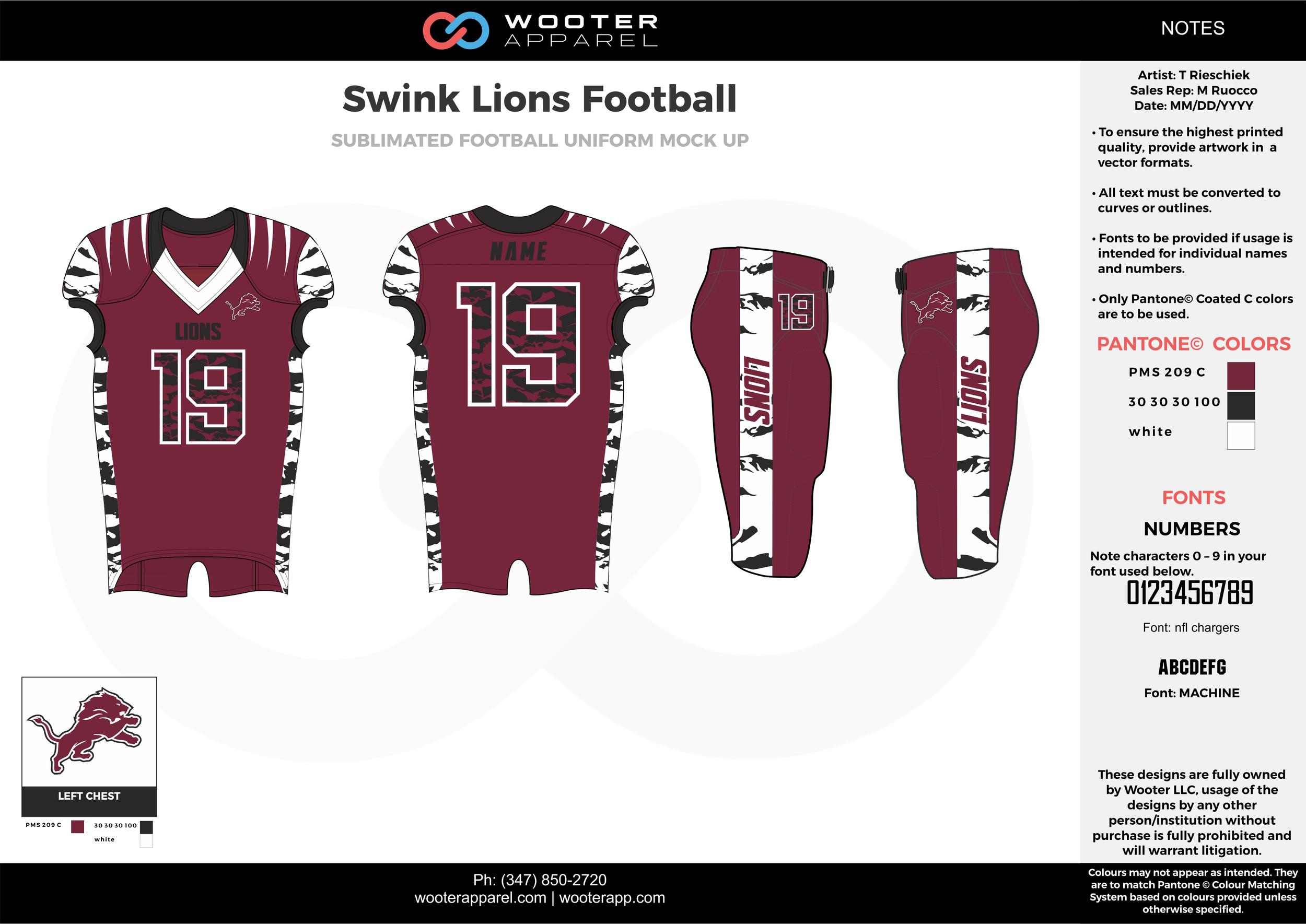 Swink Lions Football maroon white black football uniforms jerseys pants