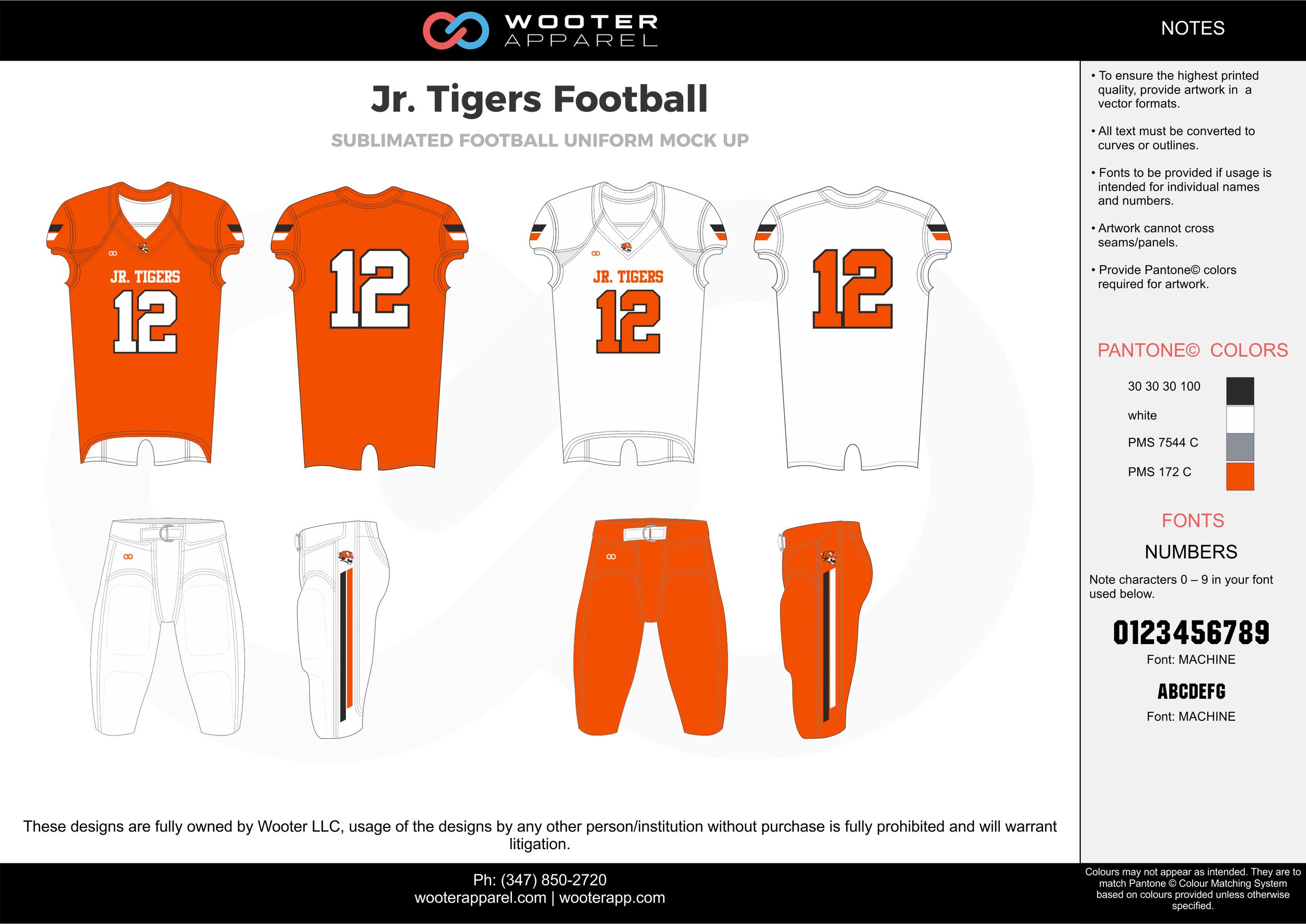 Jr. Tigers Football orange white black gray football uniforms jerseys pants