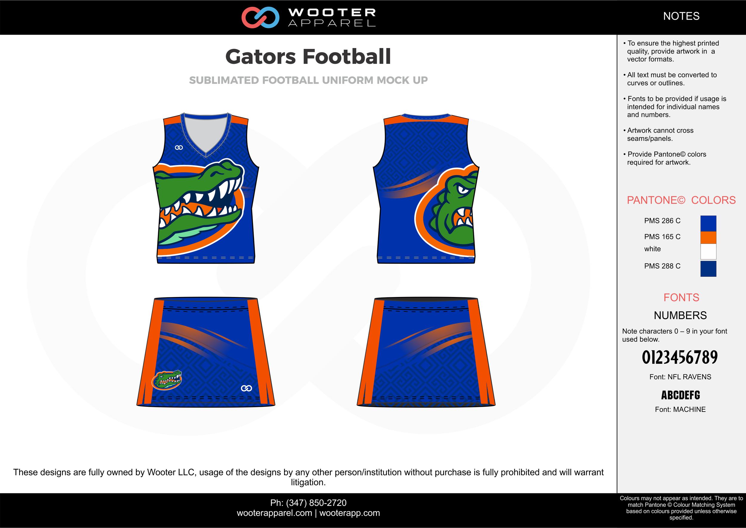 Gators Football blue orange green white football uniforms jerseys skirts