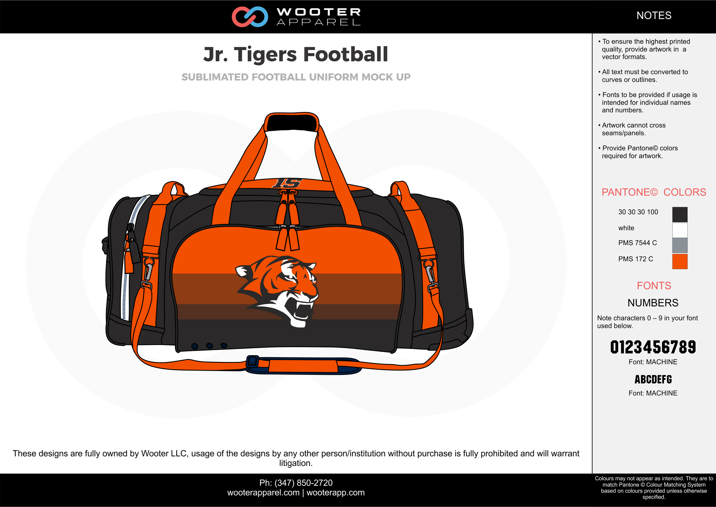 Jr. Tigers Football black orange gray white football uniforms jerseys bag