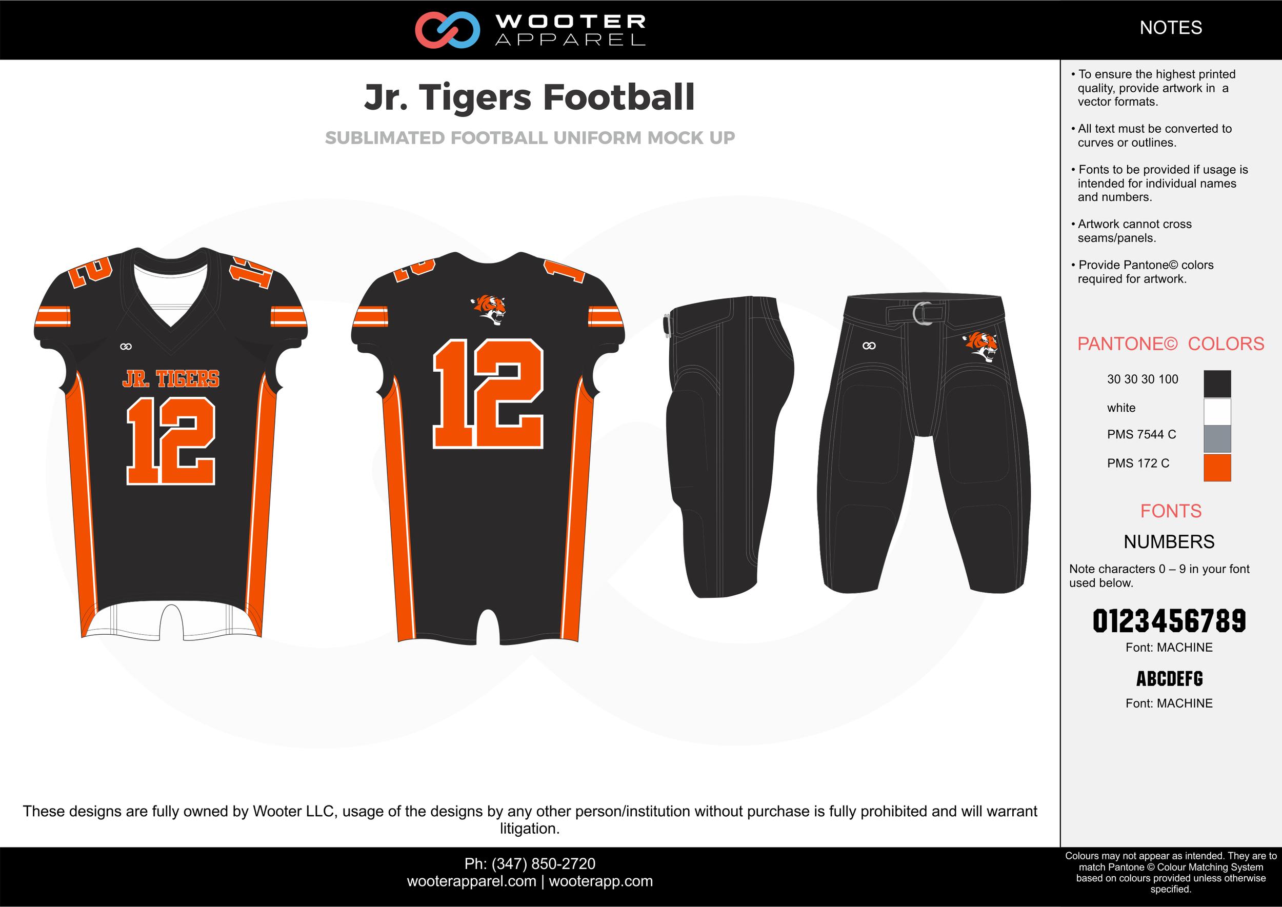 Jr. Tigers Football black orange gray white football uniforms jerseys pants