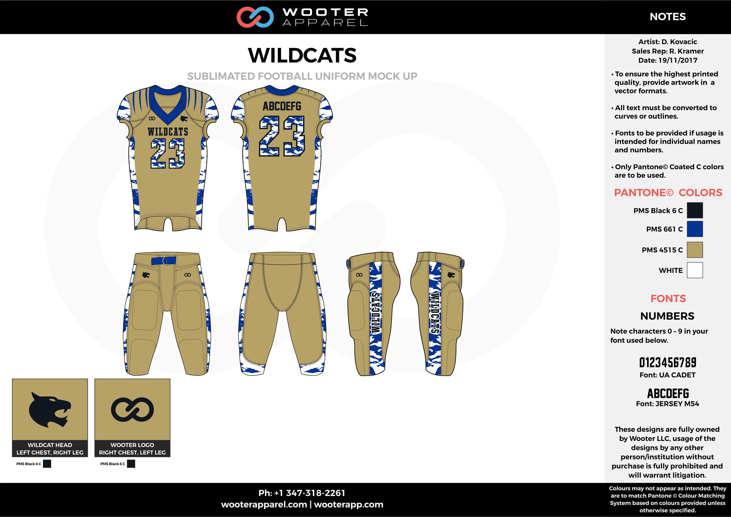 WILDCATZ khaki blue white football uniforms jerseys pants