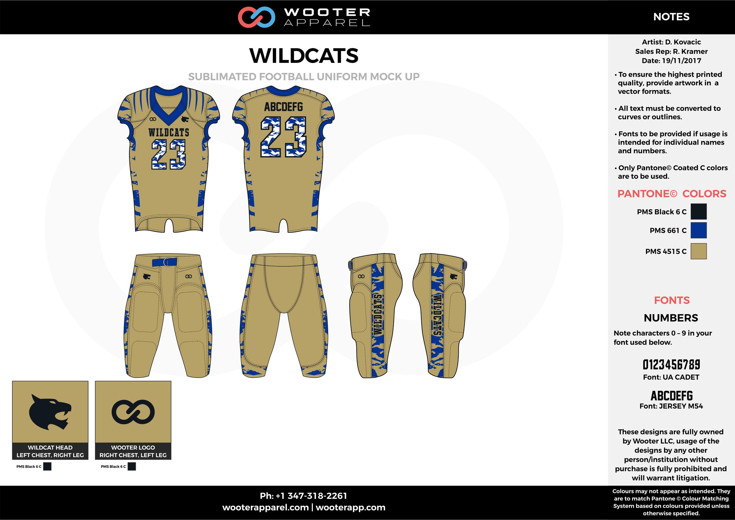 WILDCATZ khaki blue black football uniforms jerseys pants