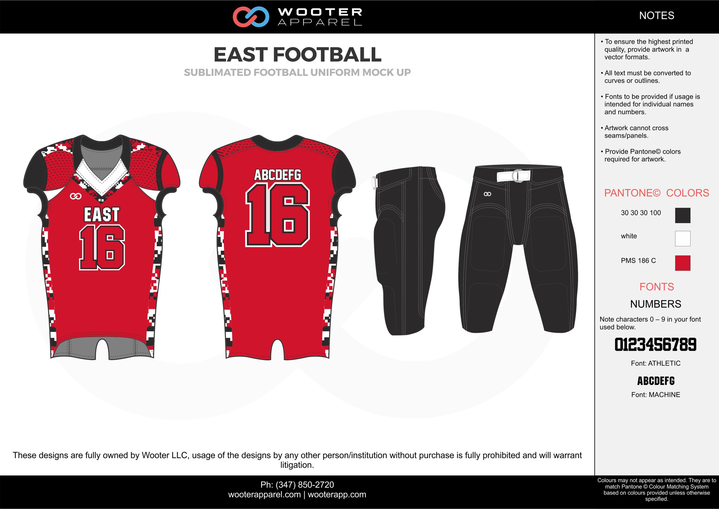 EAST FOOTBALL  red black white football uniforms jerseys pants