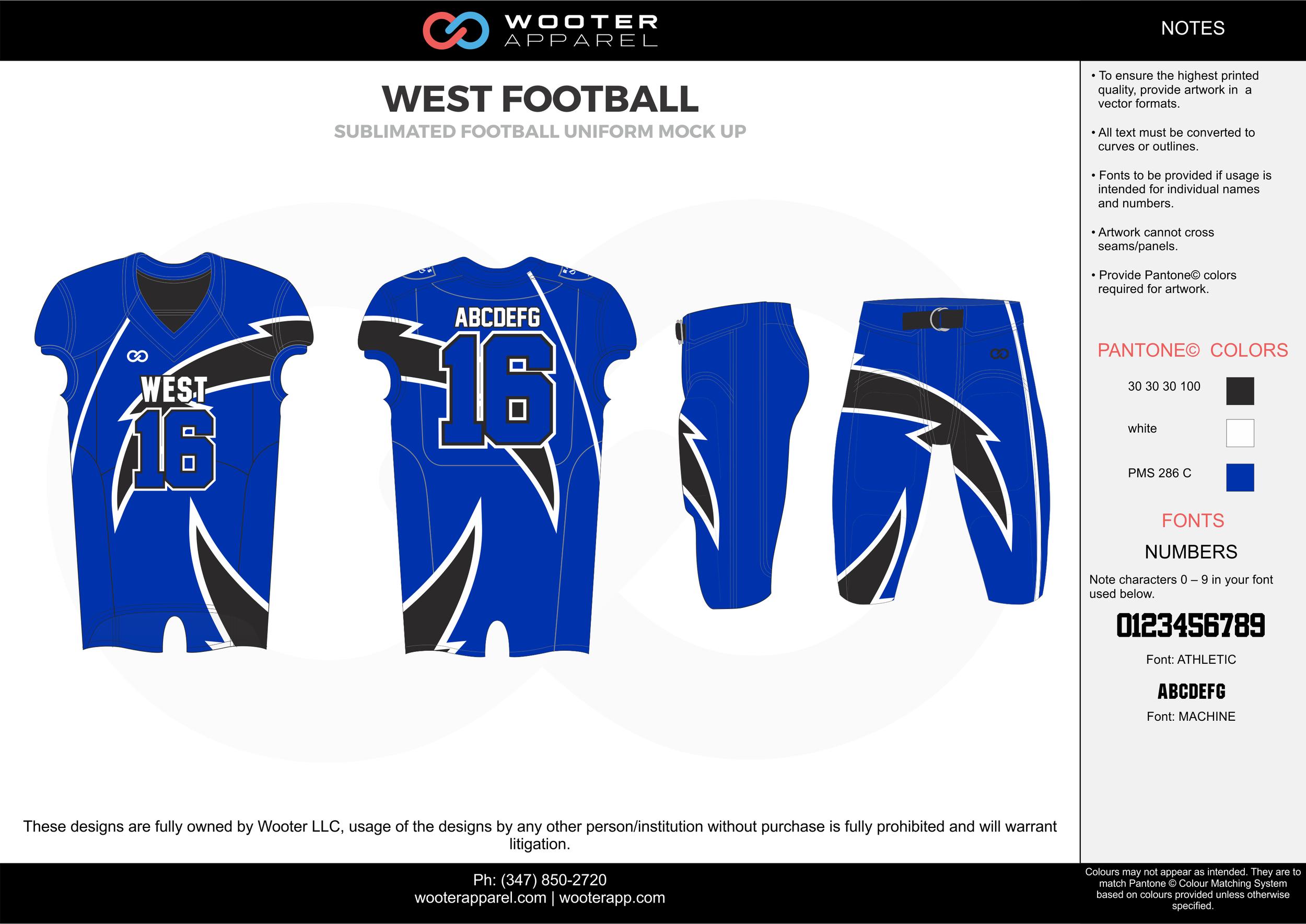 WEST FOOTBALL blue black white football uniforms jerseys pants