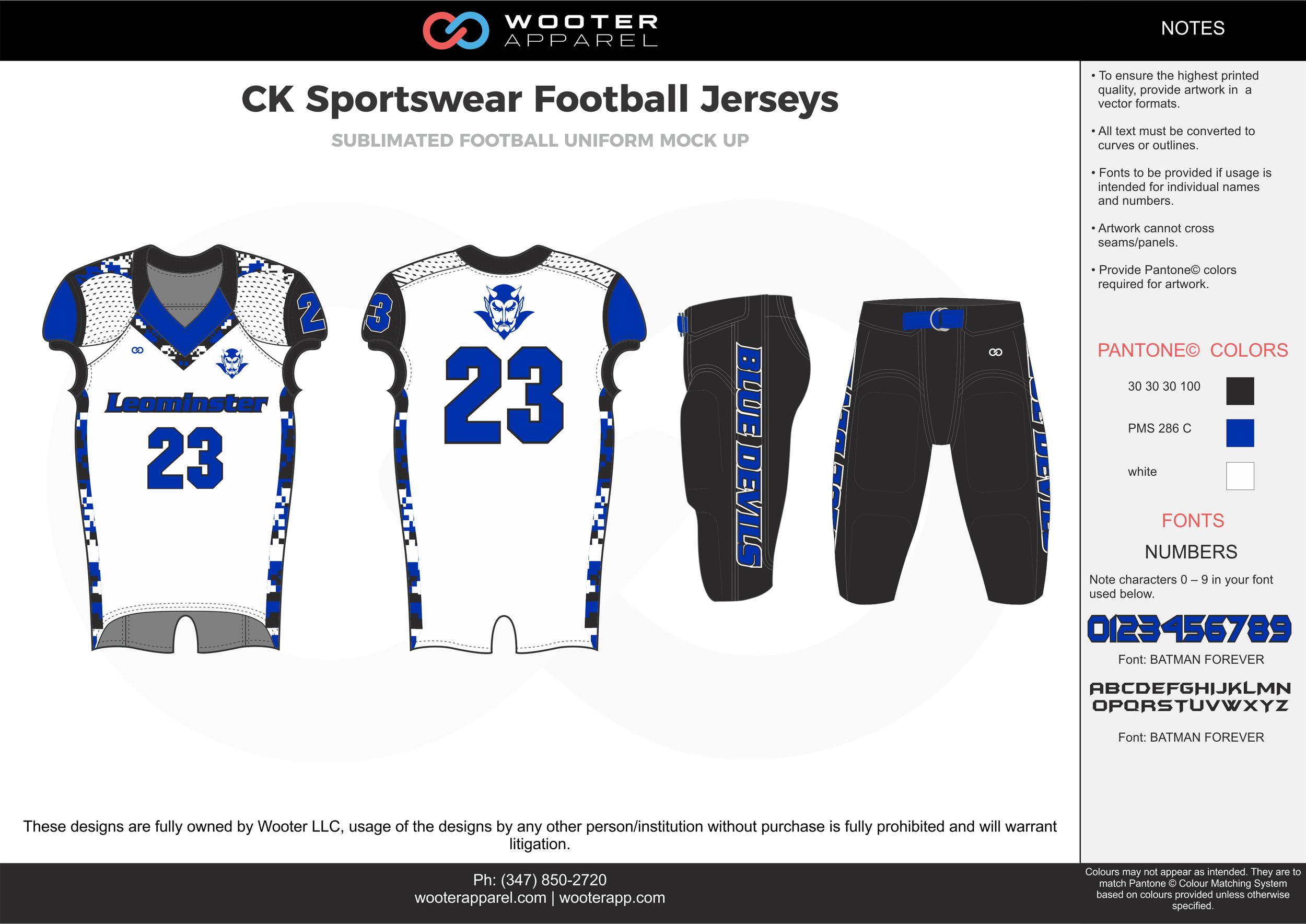 CK Sportswear black white blue football uniforms jerseys pants