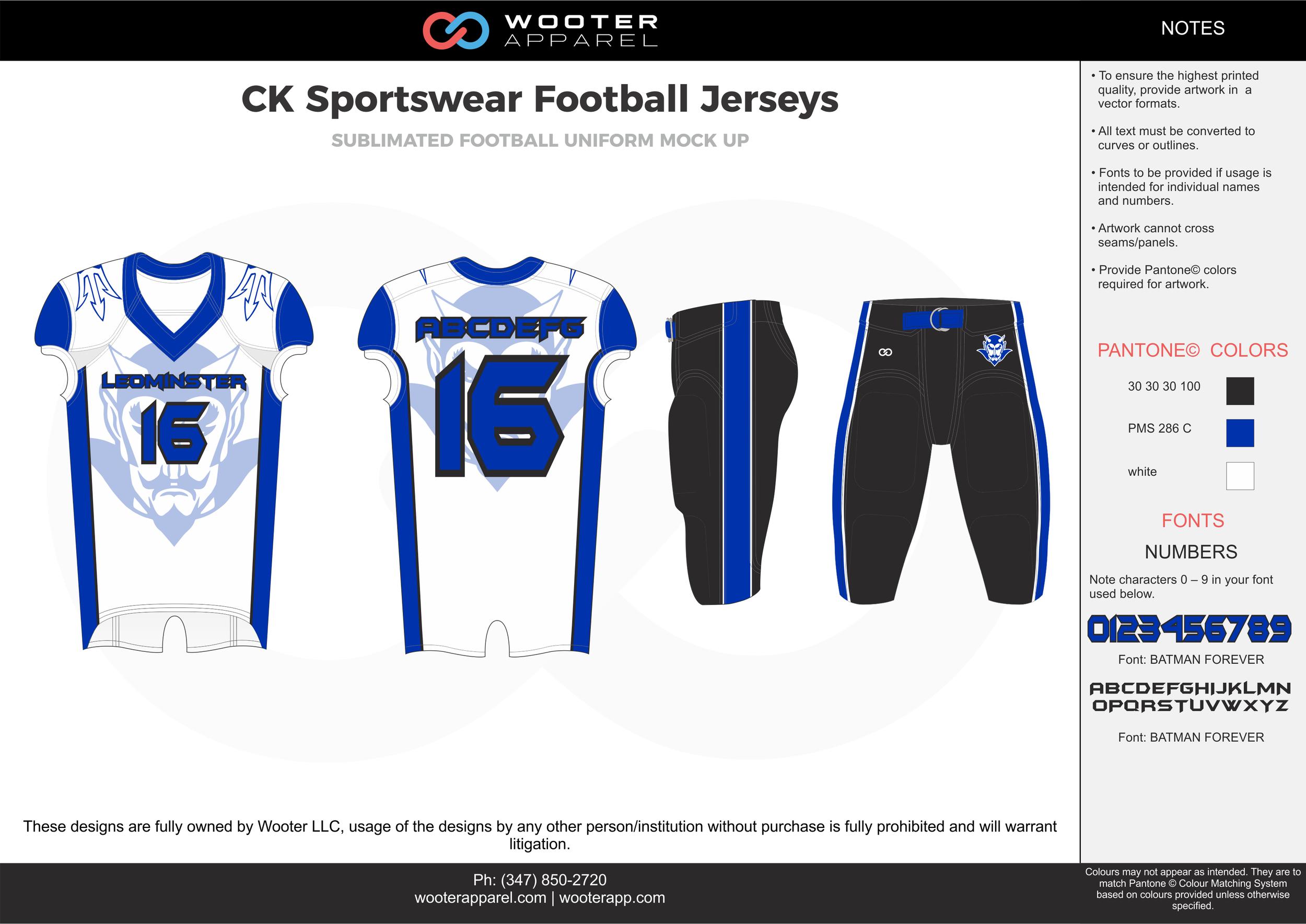 CK Sportswear white blue black football uniforms jerseys pants
