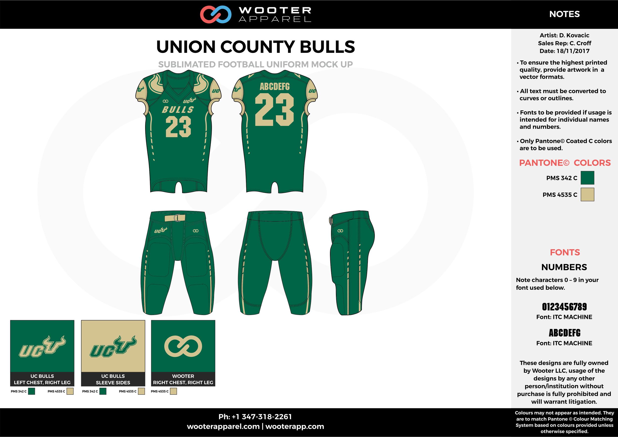 UNION COUNTY BULLS green beige football uniforms jerseys pants
