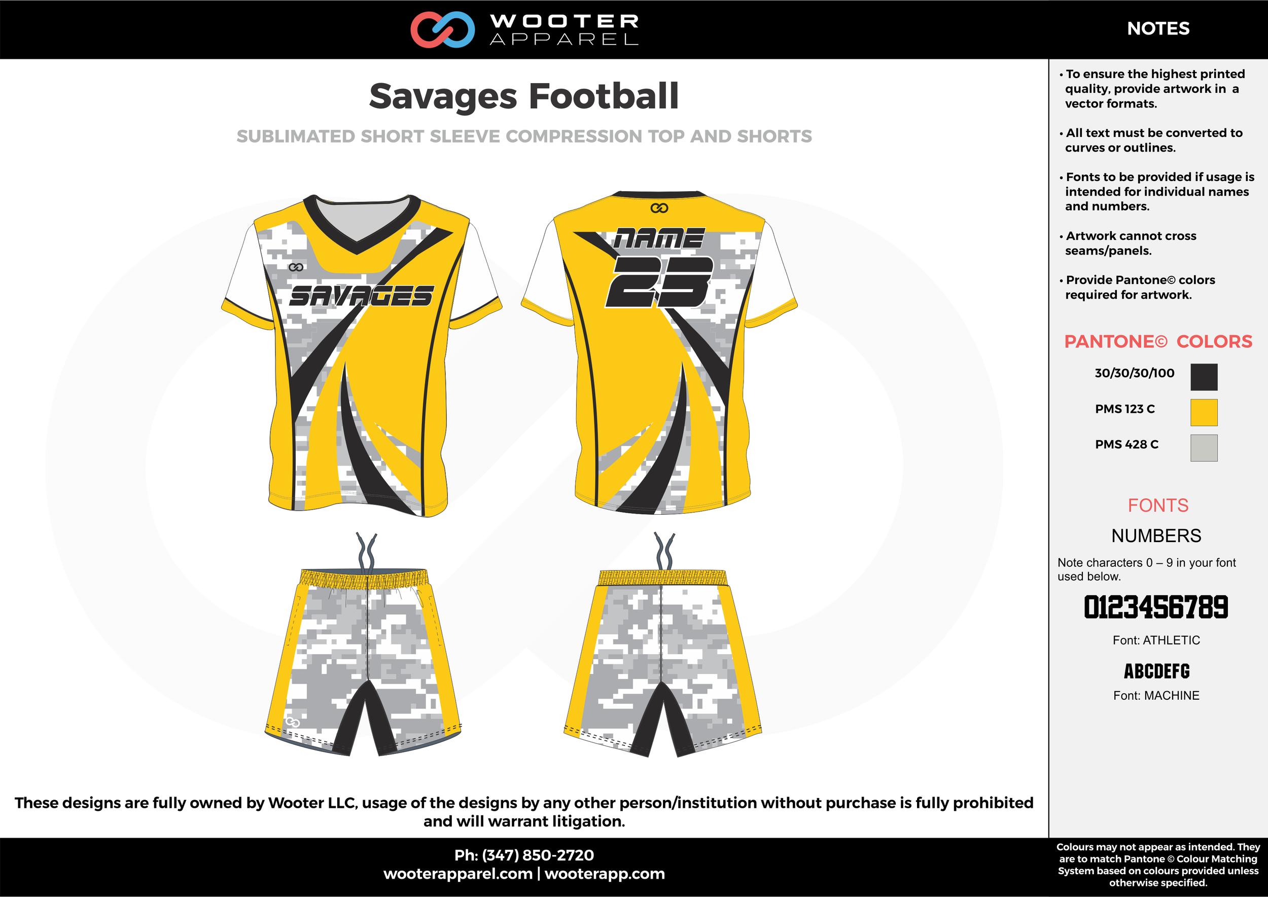 Savages Football yellow white gray football uniforms jerseys shorts
