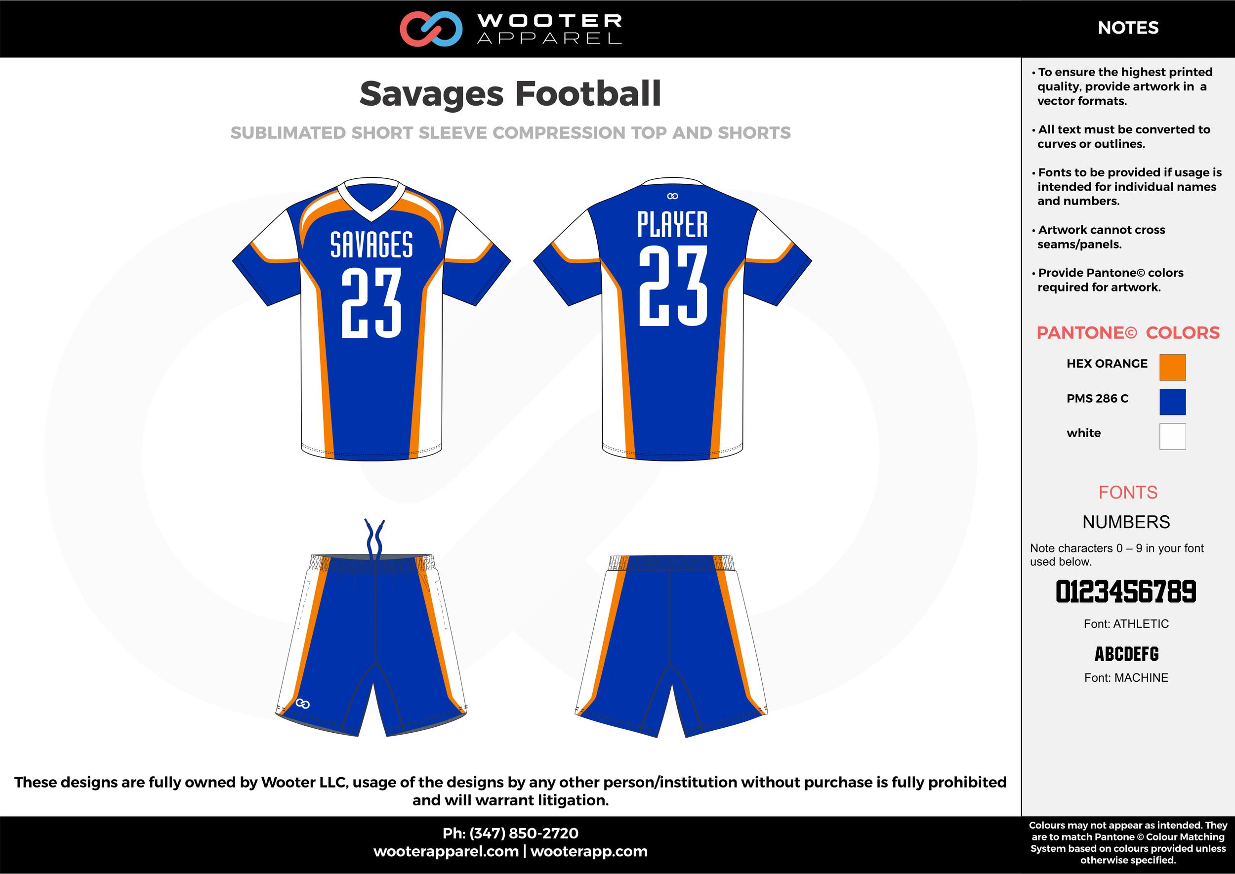 Savages Football blue white orange football uniforms jerseys shorts