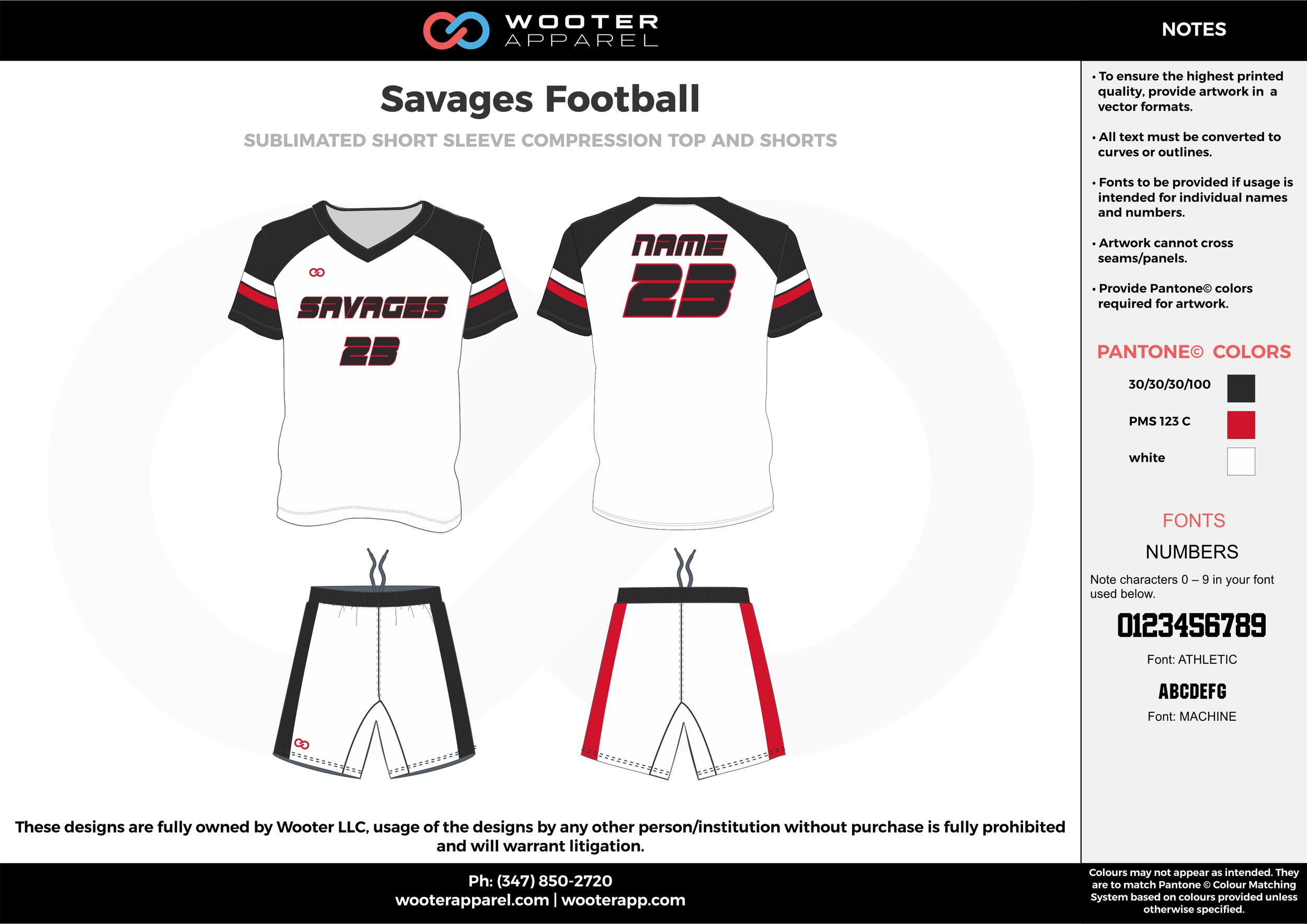 Savages Football white red black football uniforms jerseys shorts