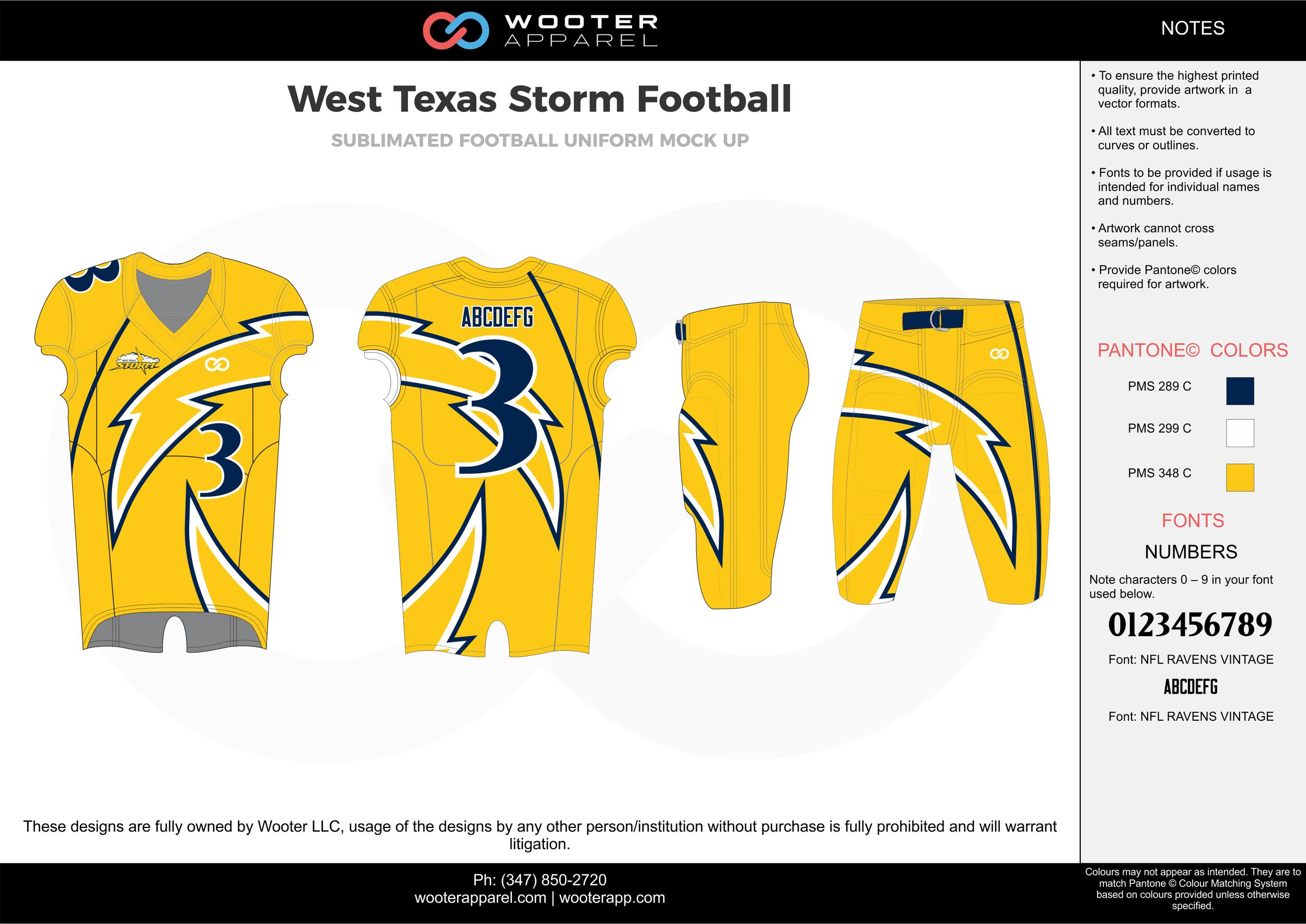 West Texas Storm yellow blue white football uniforms jerseys pants
