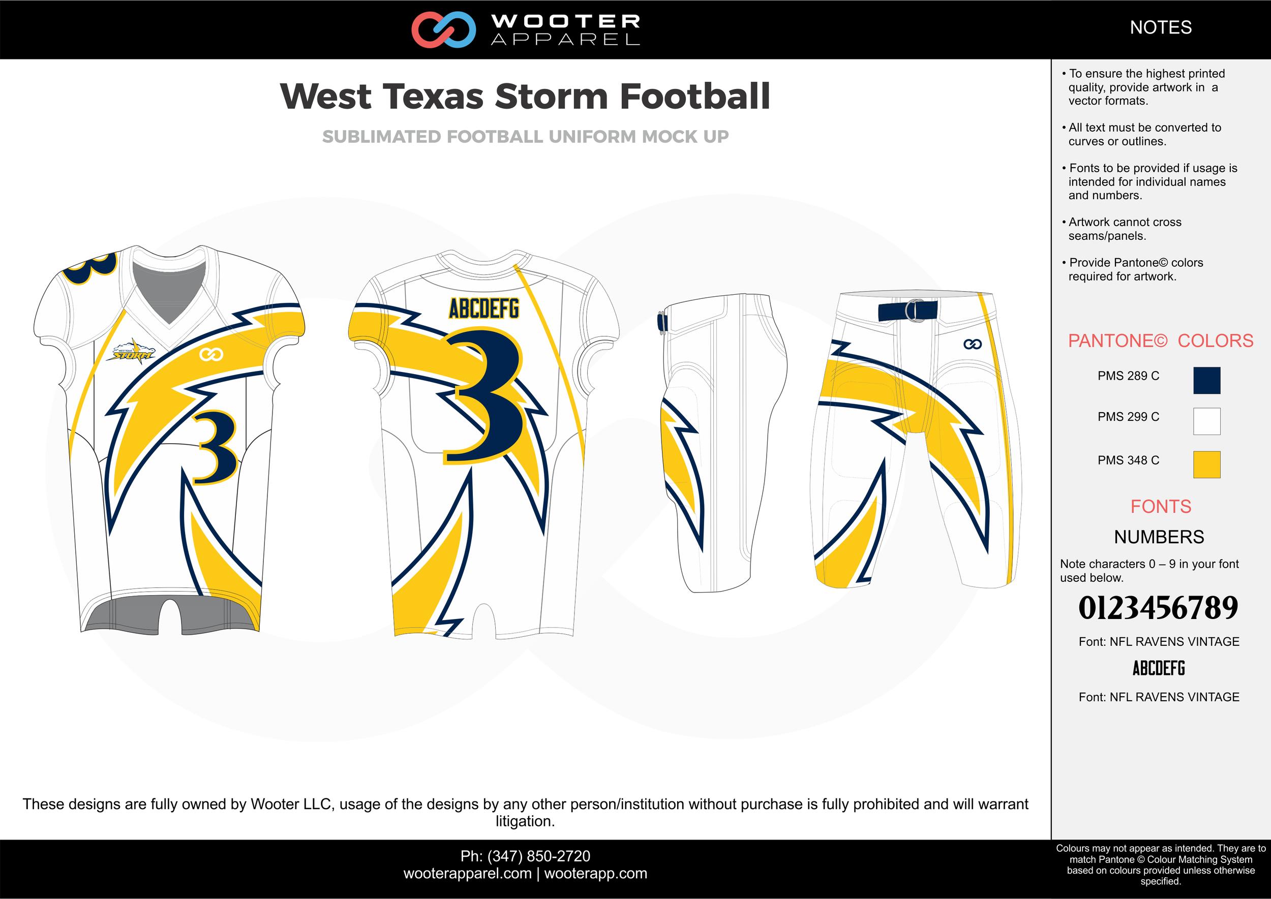 West Texas Storm white yellow blue football uniforms jerseys pants