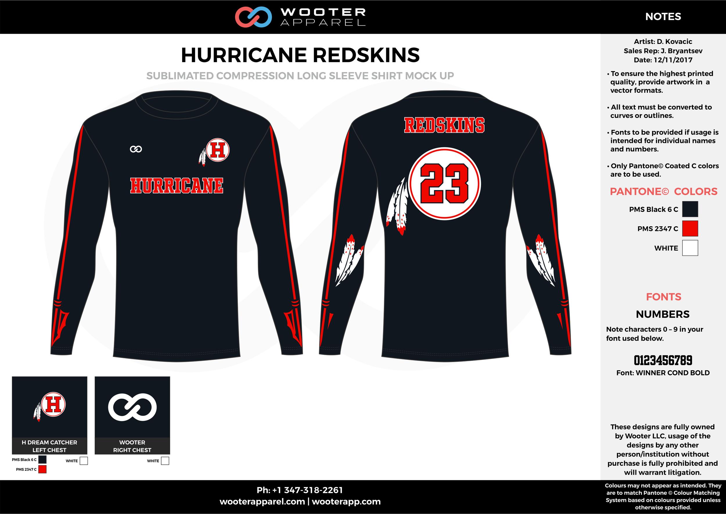 HURRICANE REDSKINS red black white football uniforms jerseys long sleeve