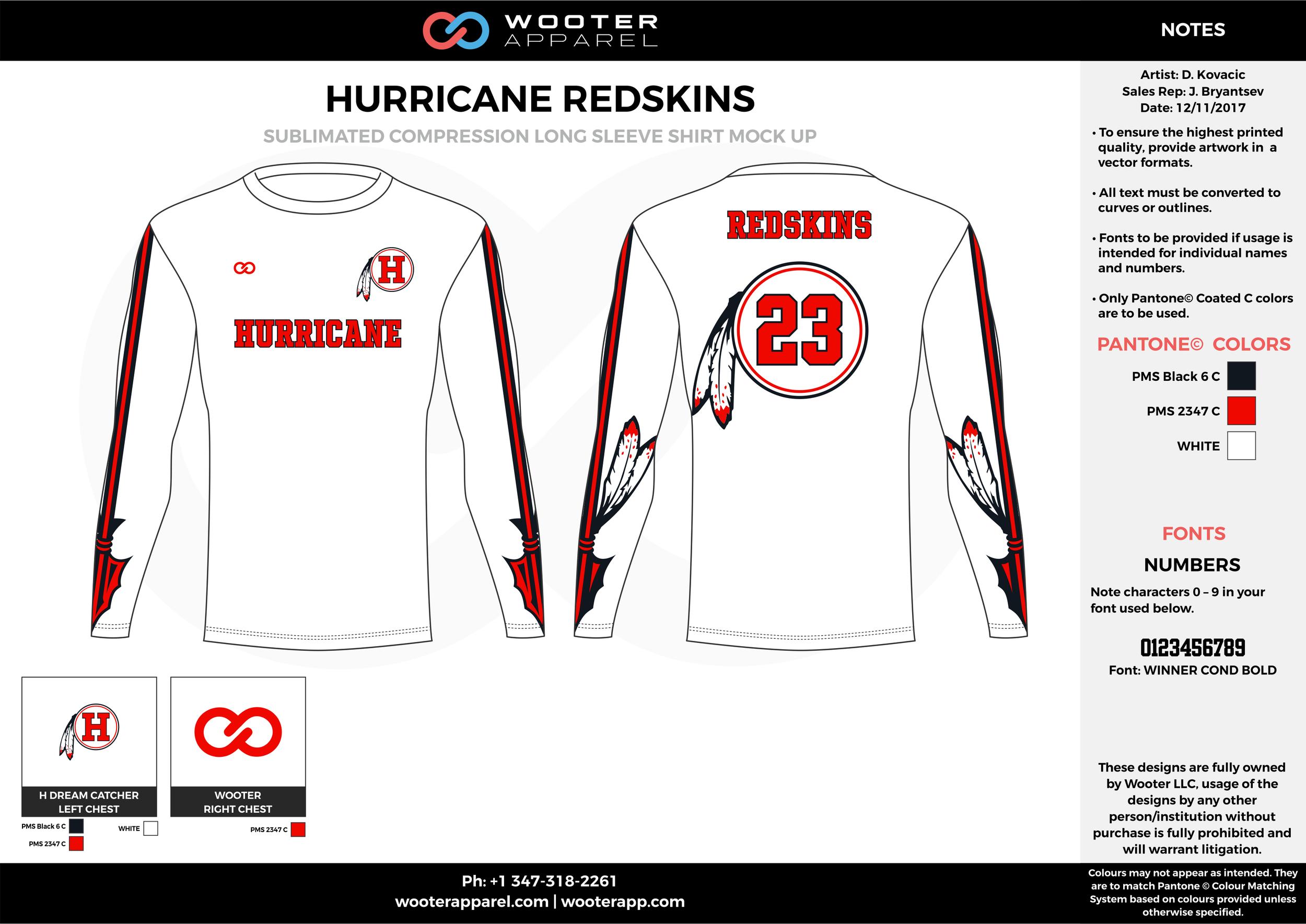 HURRICANE REDSKINS white red black football uniforms jerseys long sleeve
