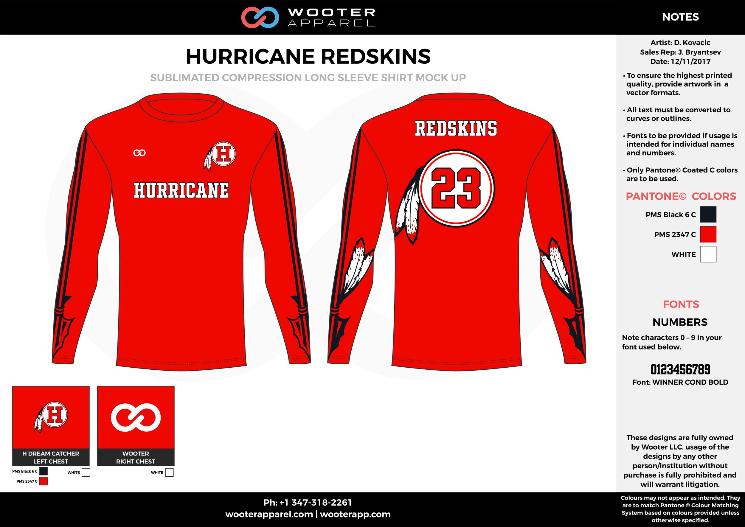 HURRICANE REDSKINS red white black football uniforms jerseys long sleeve