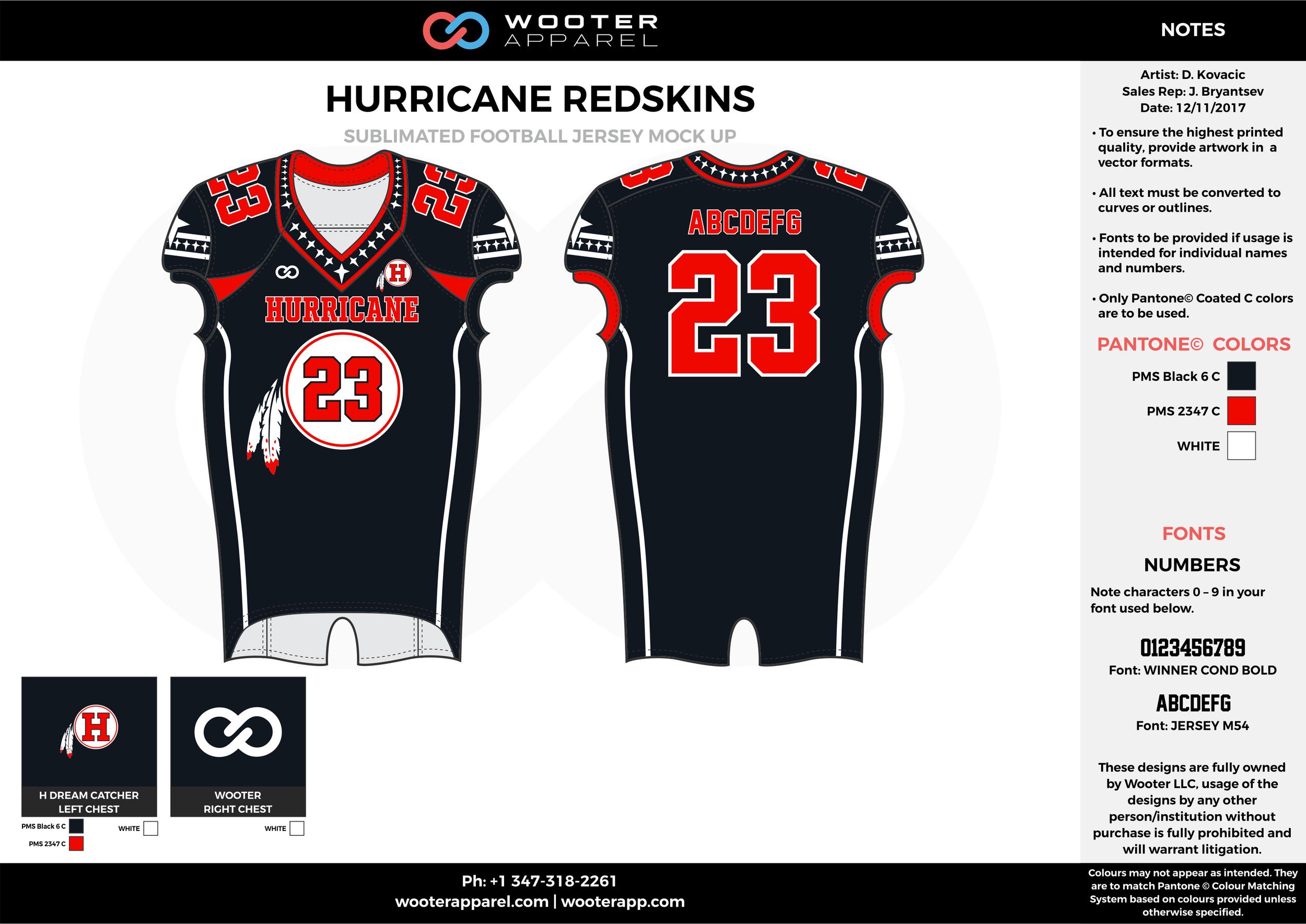 HURRICANE REDSKINS black red white football uniforms jerseys top