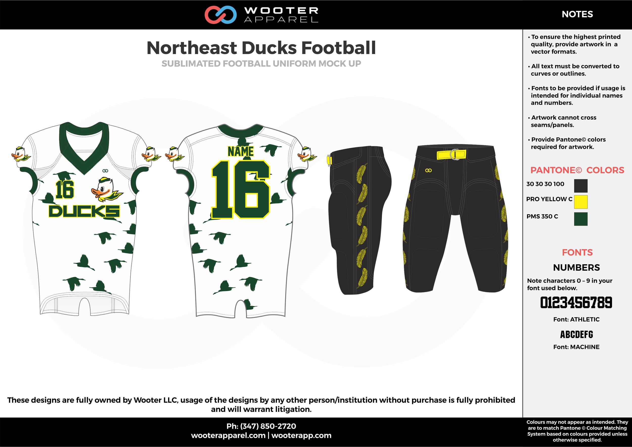 Northeast Ducks white black green football uniforms jerseys pants
