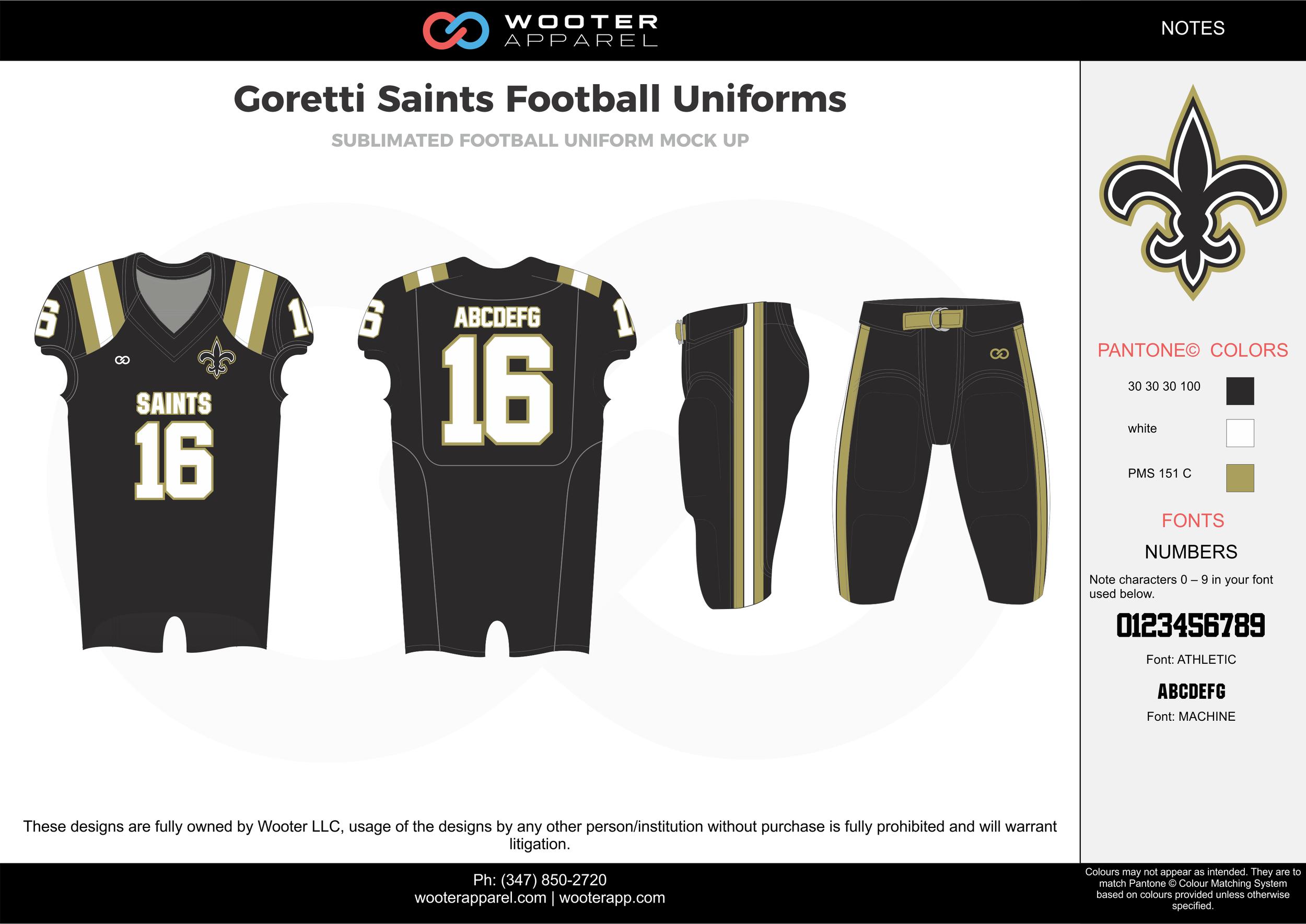 Goretti Saints black white gray football uniforms jerseys pants