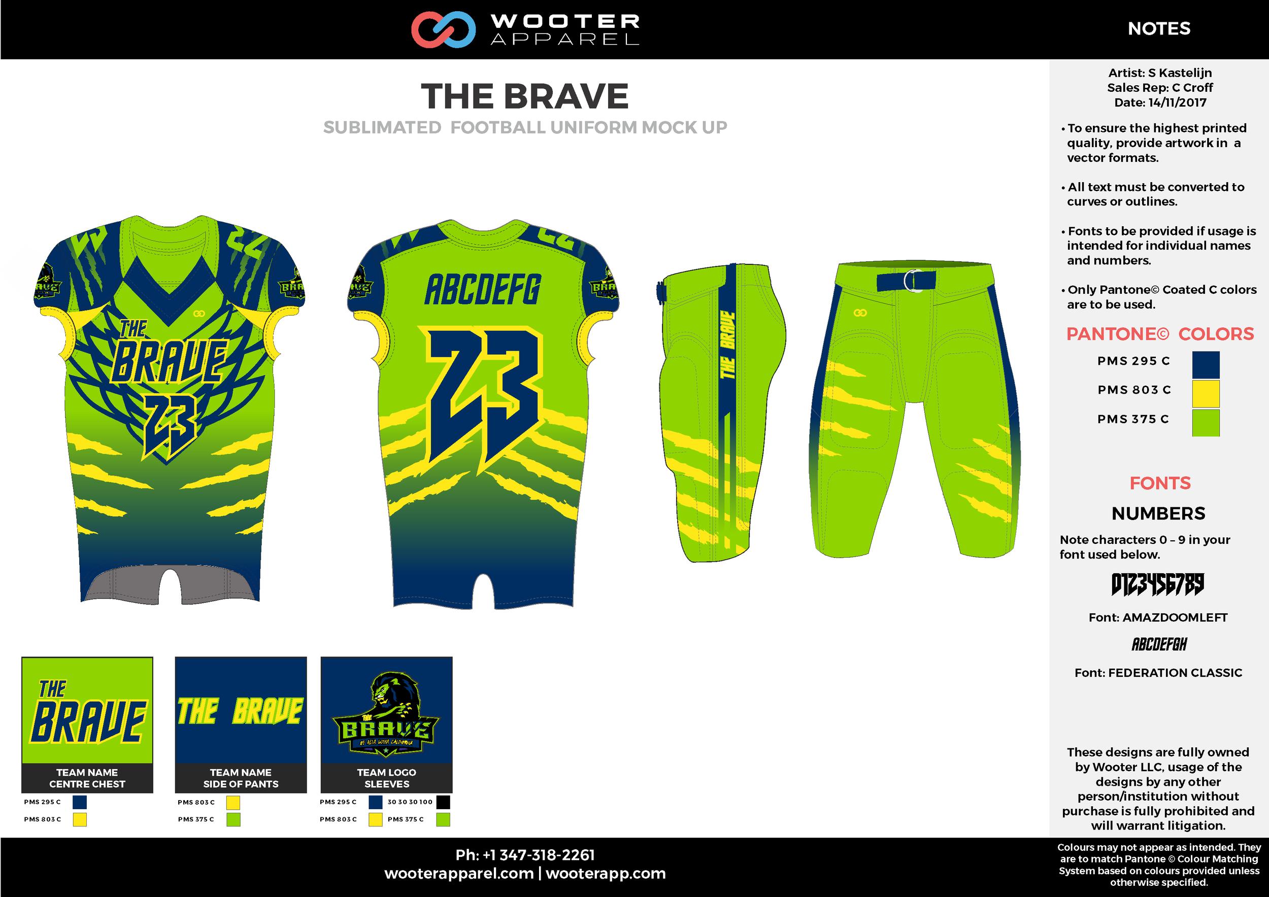 THE BRAVE green blue yellow football uniforms jerseys pants