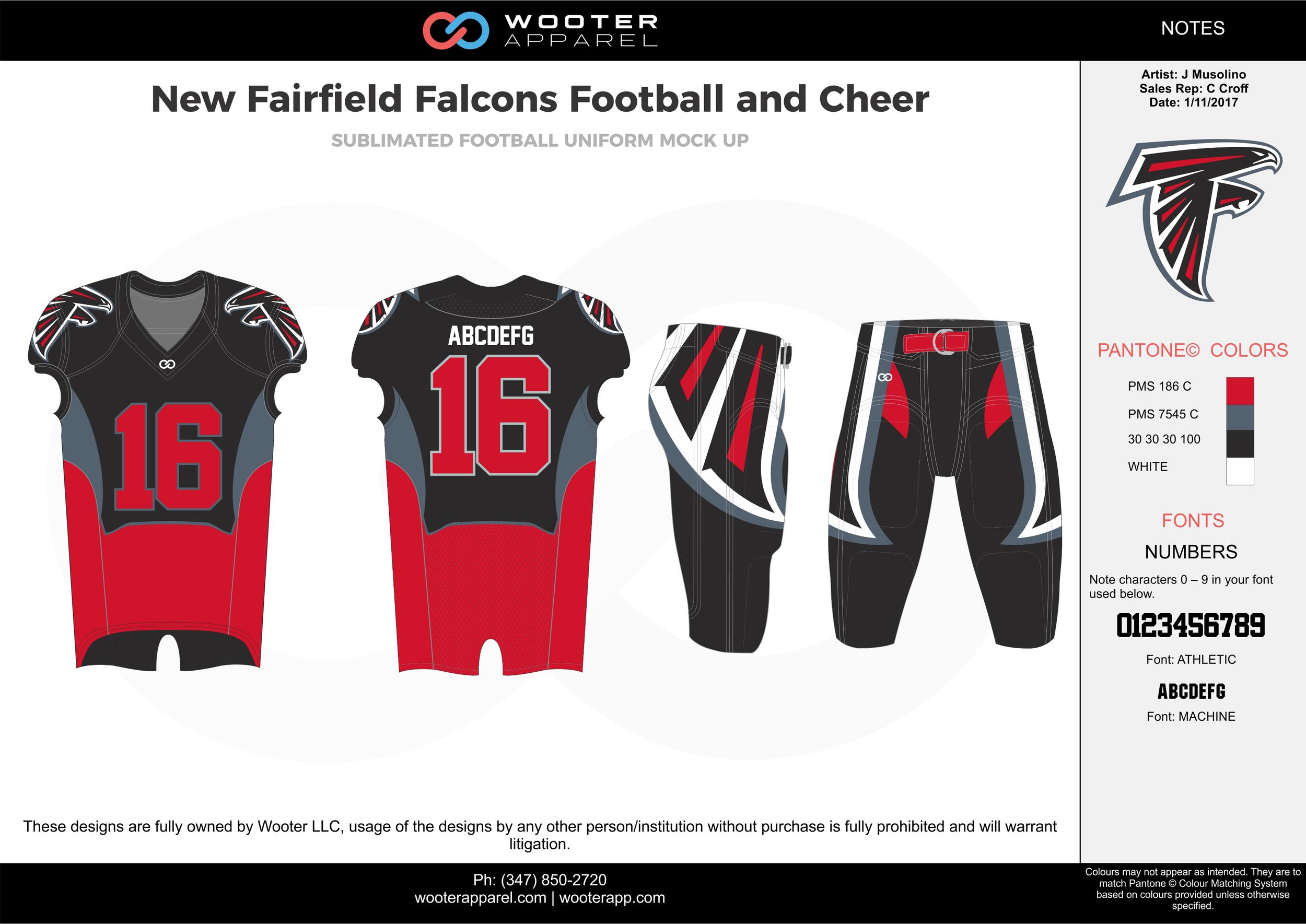 New Fairfield Falcons red black gray white football uniforms jerseys pants