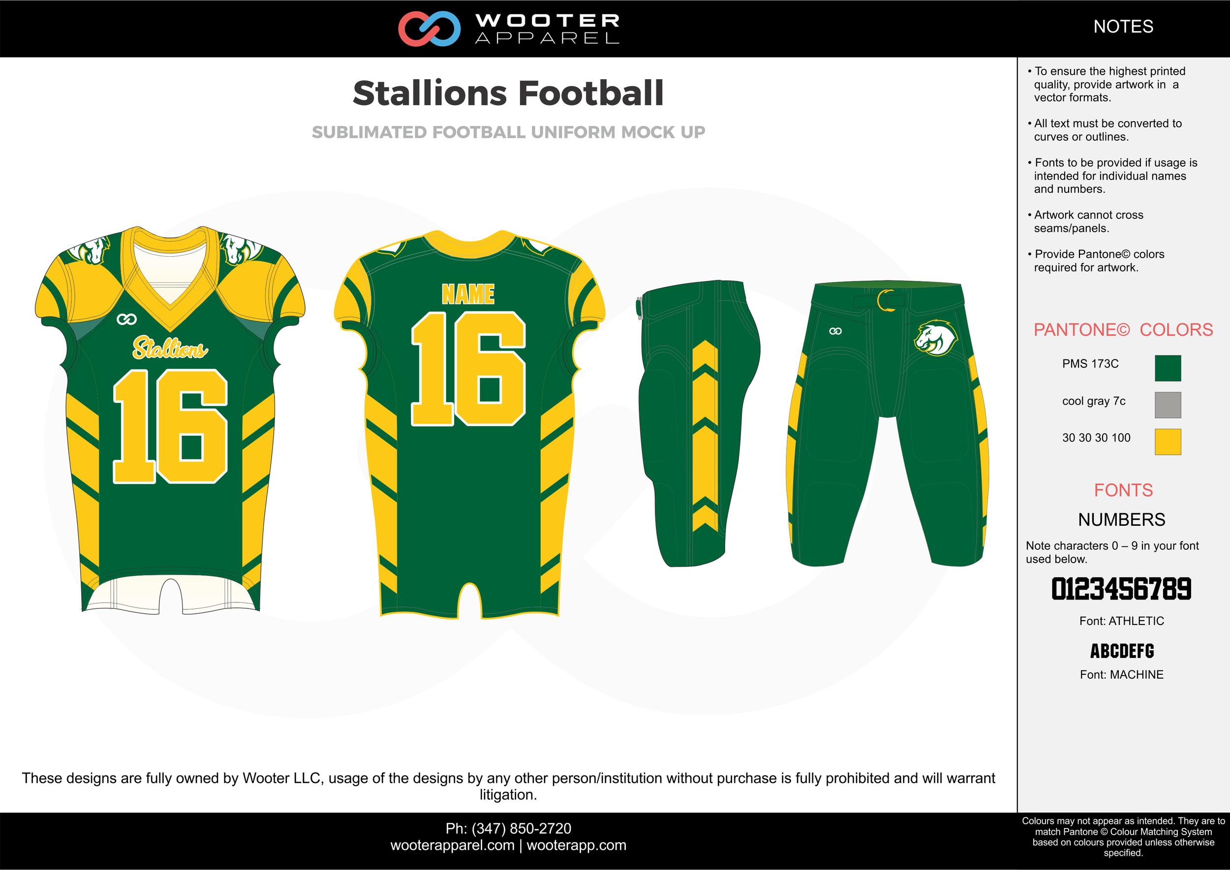 Stallions Football green gray yellow football uniforms jerseys pants